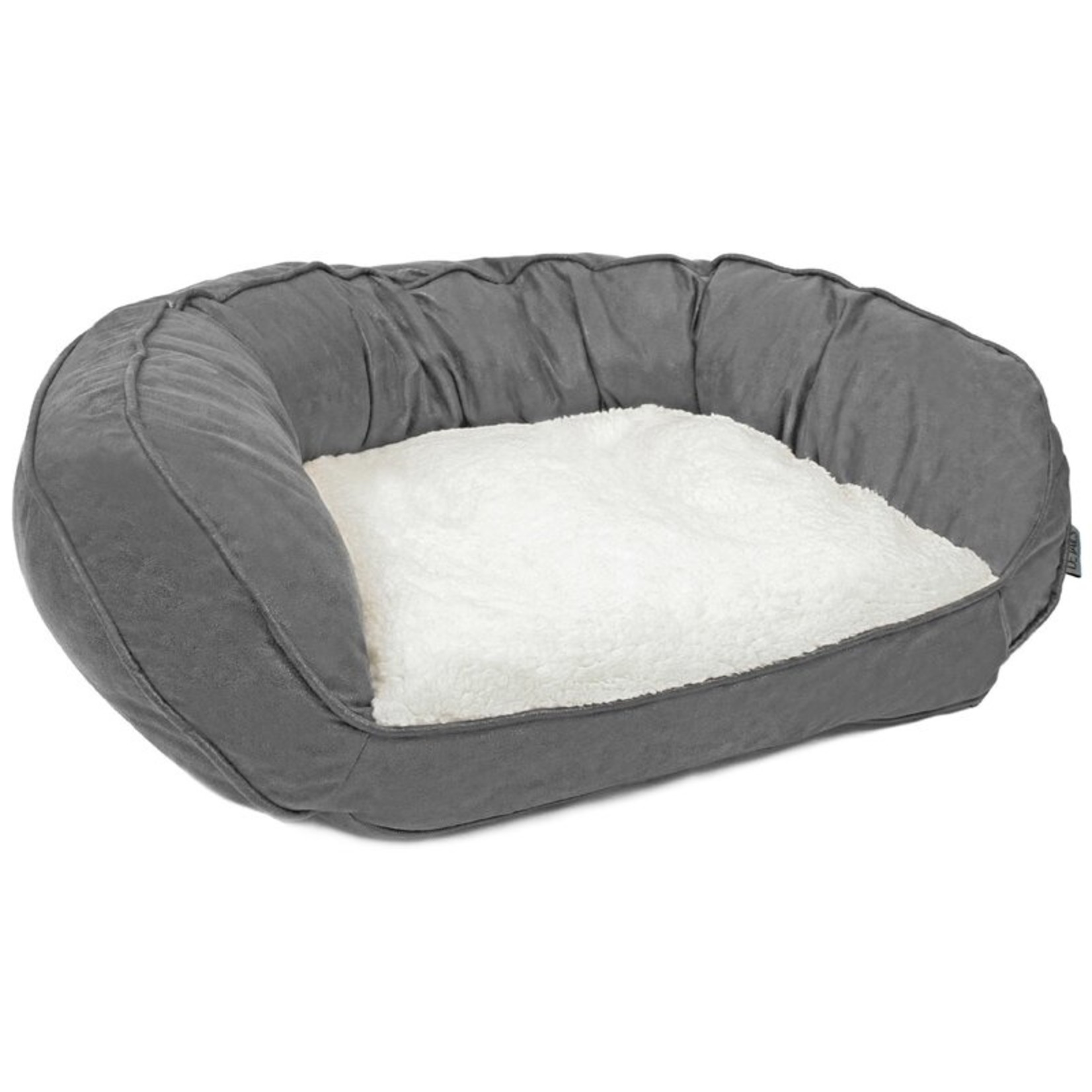 *Iowa Vegan Leather Curved Orthopedic Memory Foam Sofa Pet Bed - Gray