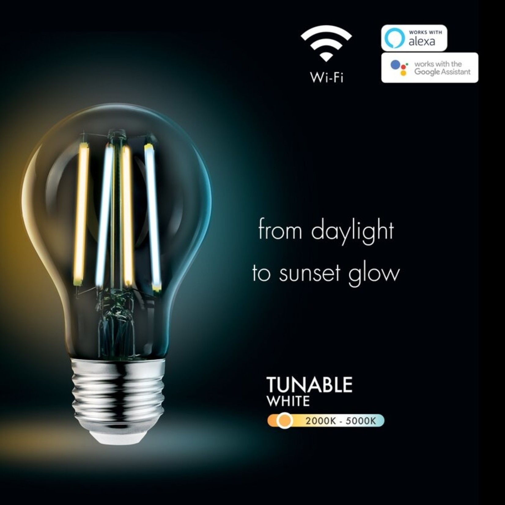 *8.5 Watt (60 Watt Equivalent), A19 LED Smart, Dimmable Light Bulb, Warm White (5000K) E26/Medium (Standard) Base