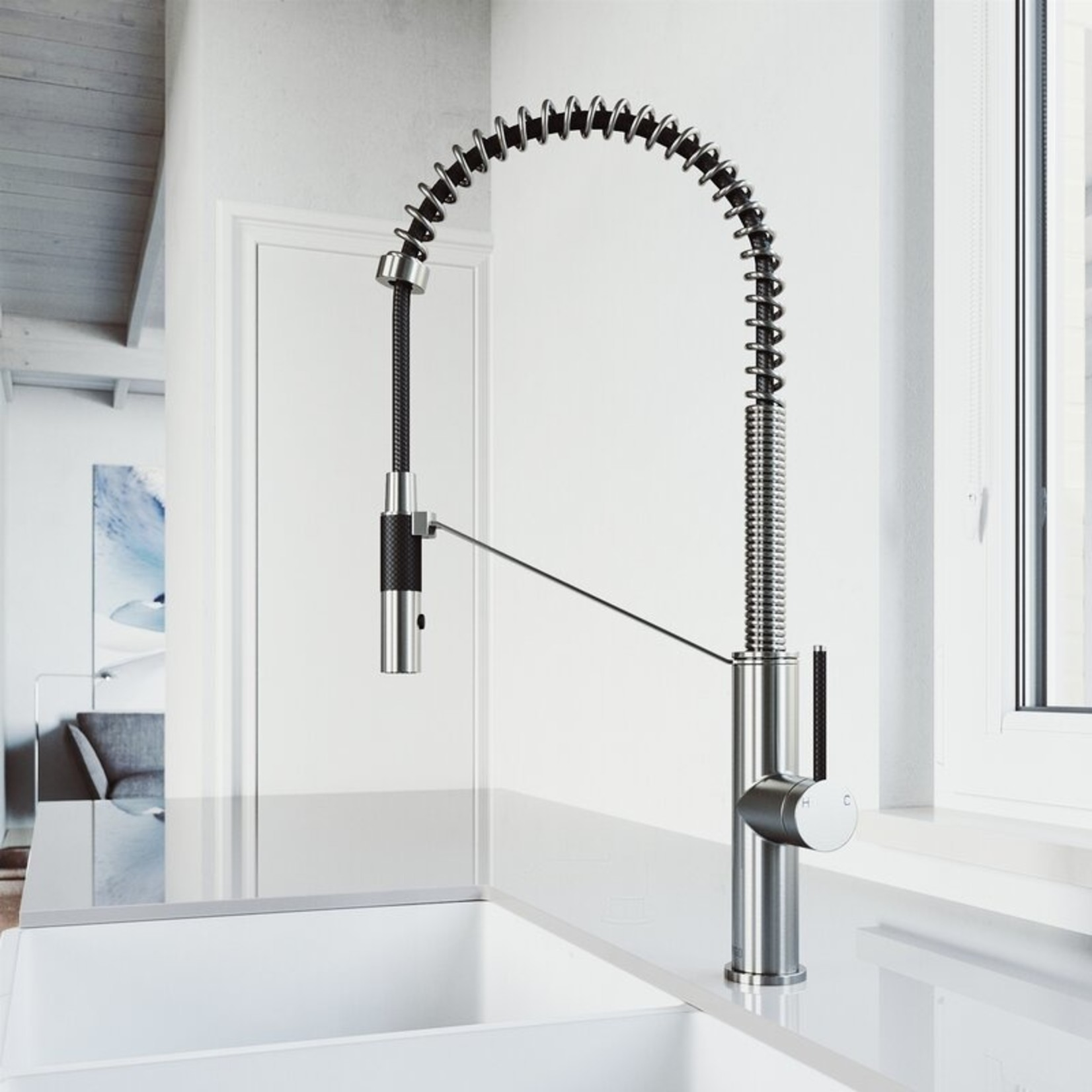 *Livingston Magnetic Pull Down Single Handle Kitchen Faucet with Soap Dispenser - Stainless Steel
