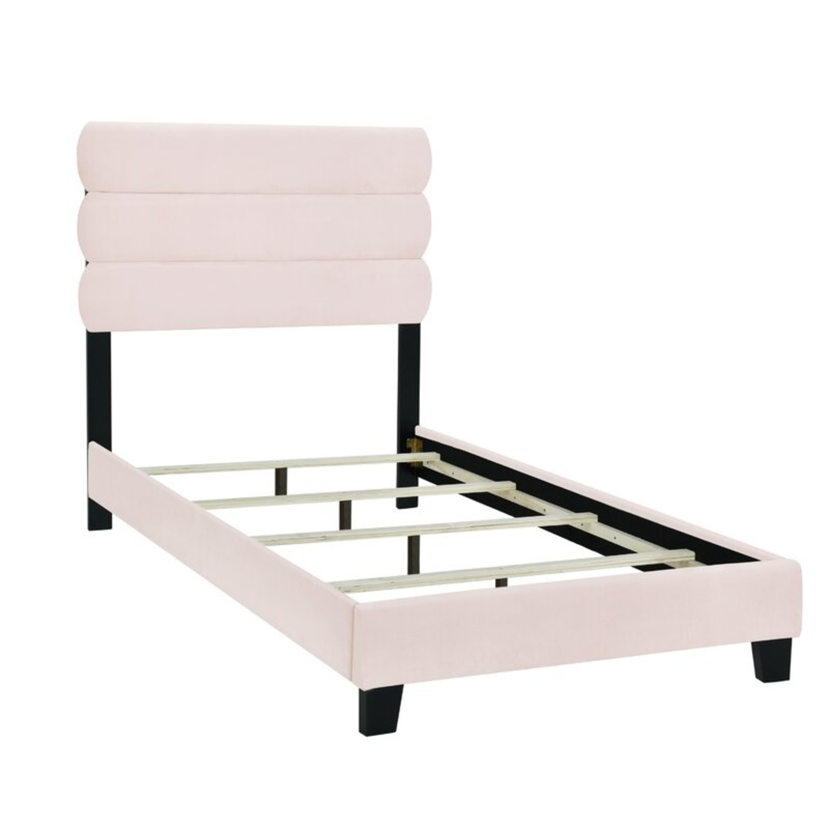 *Twin - Ronald One Box Slat Upholstered Standard Bed - Pink