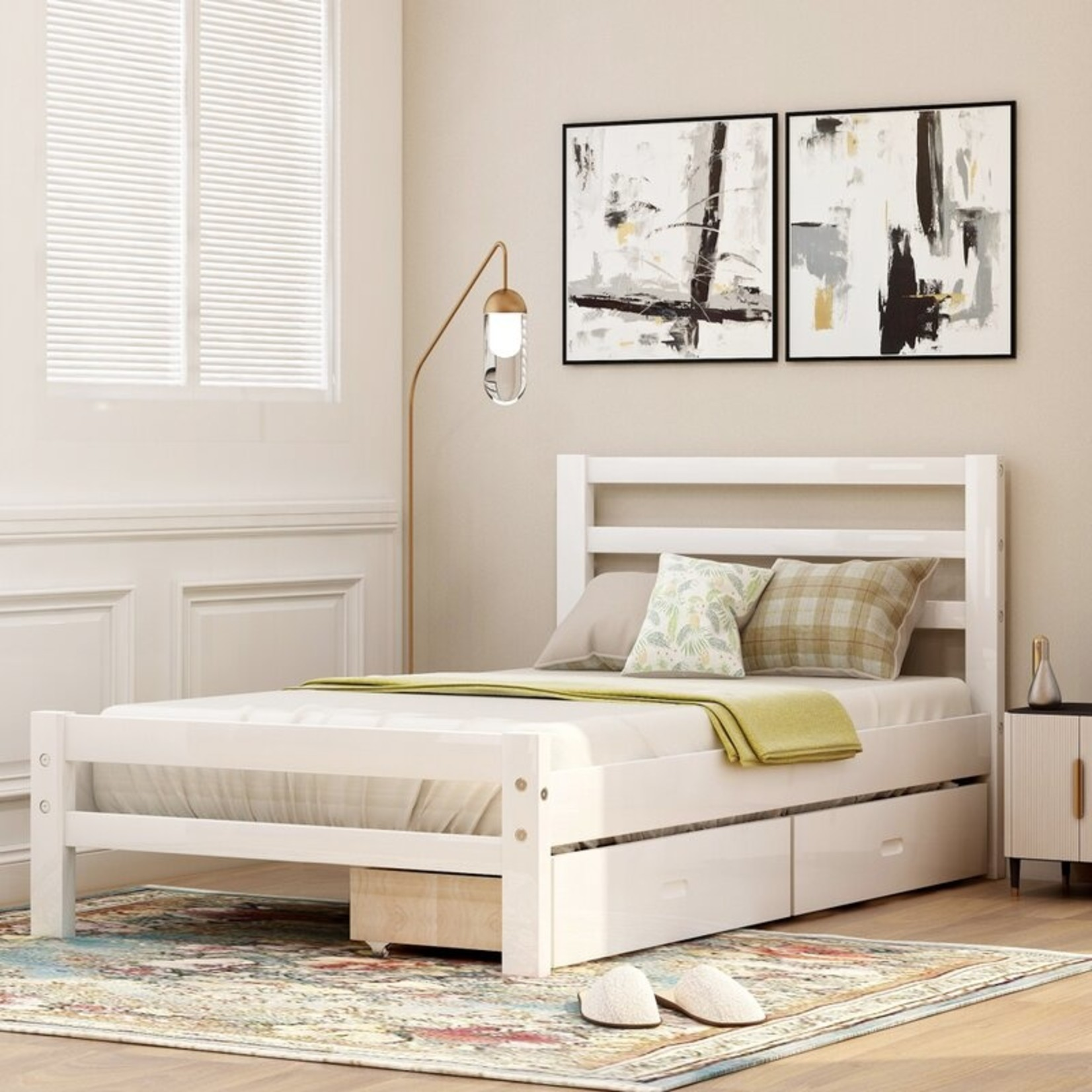 *Twin - Schlemmer Junior Twin Low Profile Bed - White