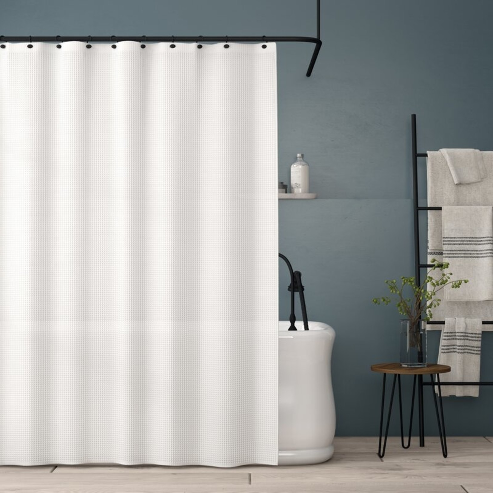 *Simsbury Solid Color Single Shower Curtain - White