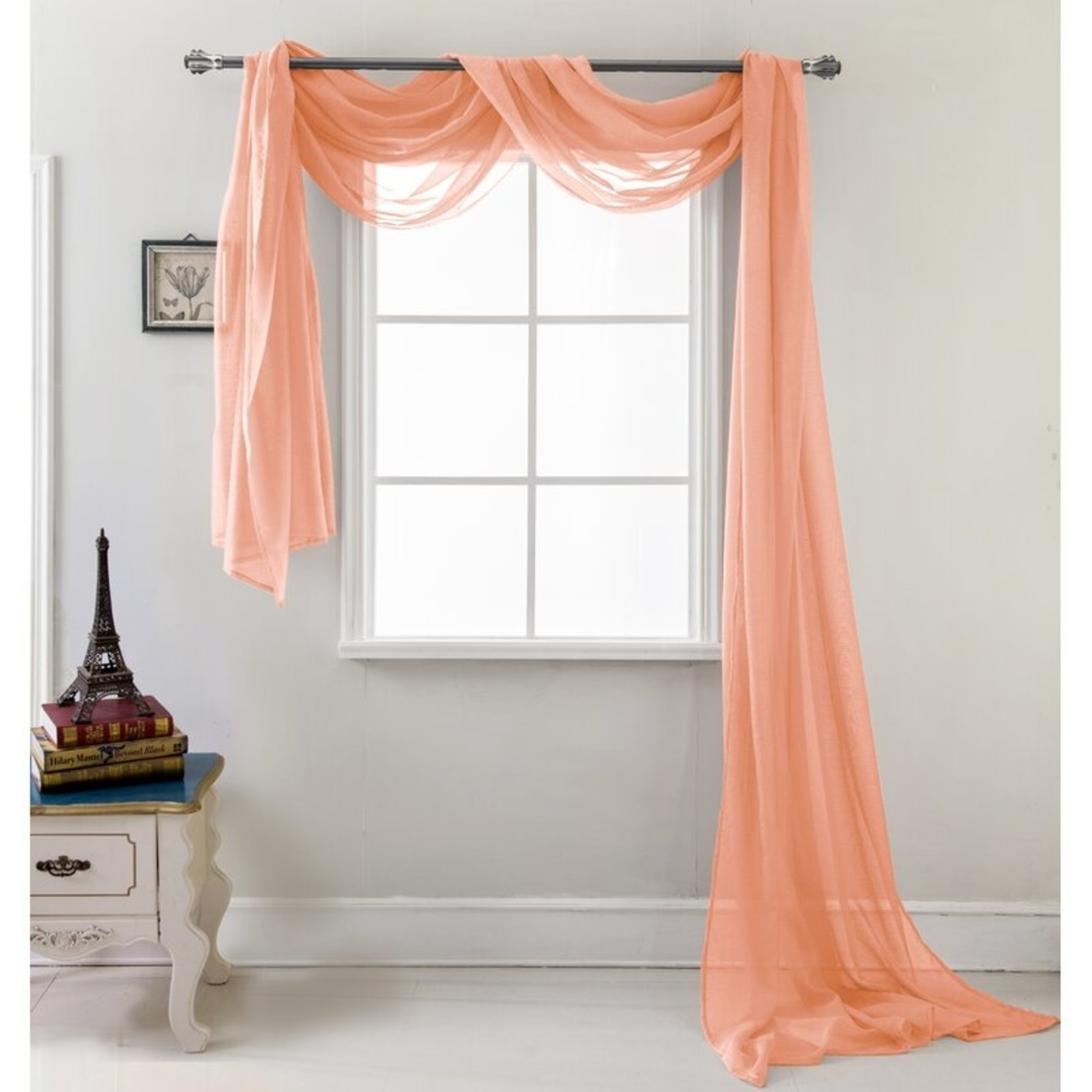 """*Brannon Solid Sheer Window Scarf - Coral - 54"""" x 216"""""""