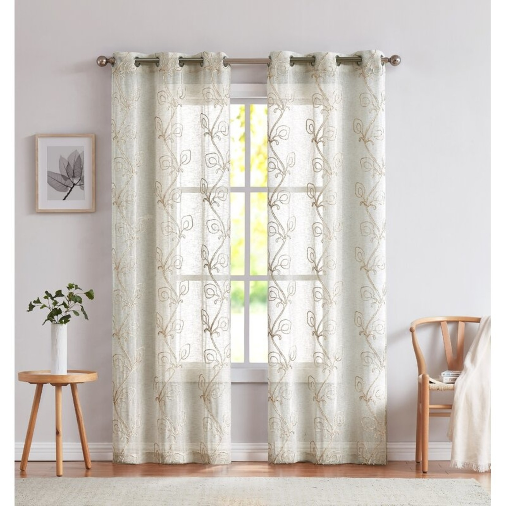"*Abdal Semi-Sheer Grommet Curtain Panels - 38"" x 84"" - Set of 2"