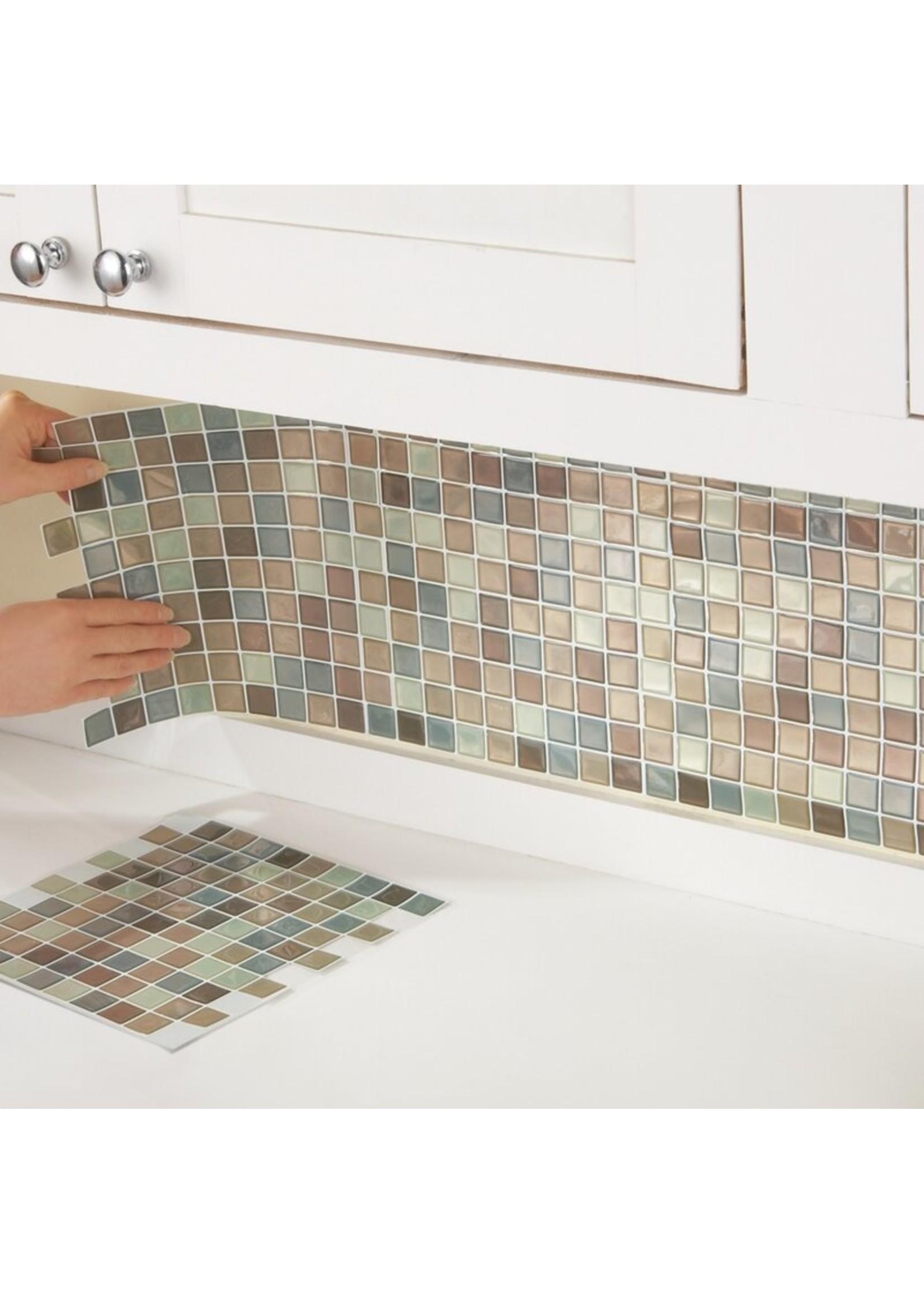 "*10"" x 6"" Gel Peel & Stick Mosaic Tile - Brown/Gray - Set of 6"