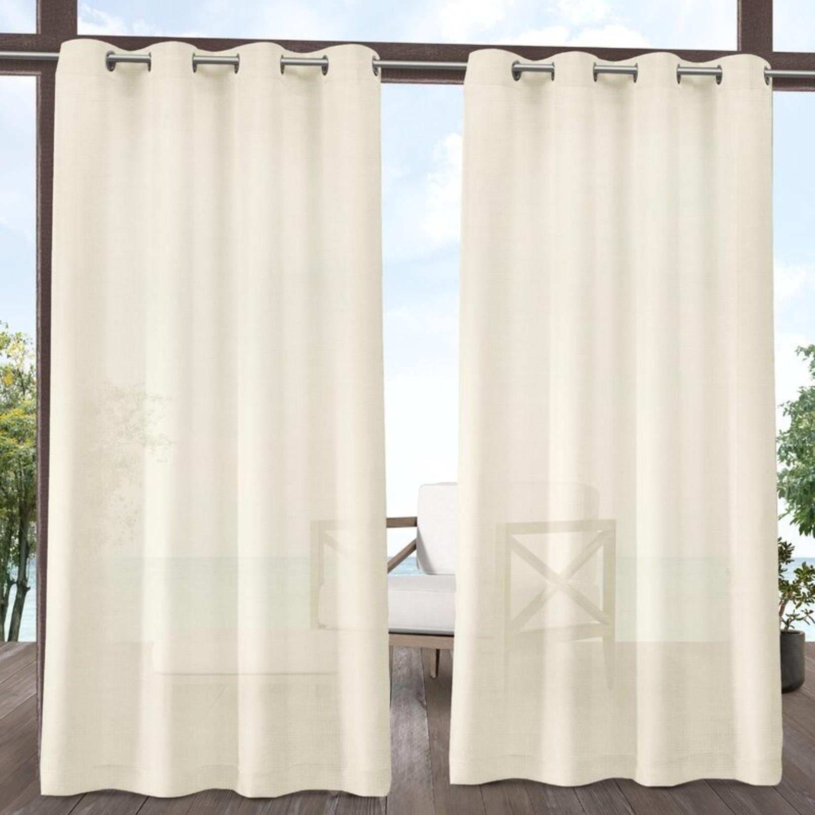 "*54"" x 96"" - Malaya Solid Semi-Sheer Grommet Curtain Panels - Set of 2 - Ivory"