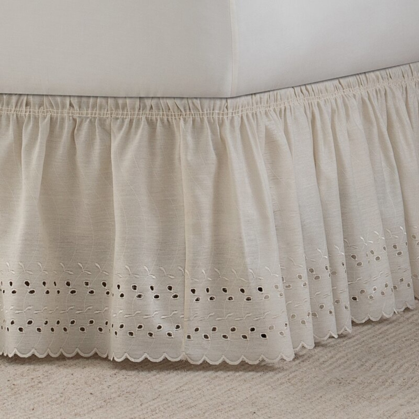 """*King/Queen - Wrap Around Eyelet Ruffled 15"""" Bed Skirt - Ivory - Final Sale"""