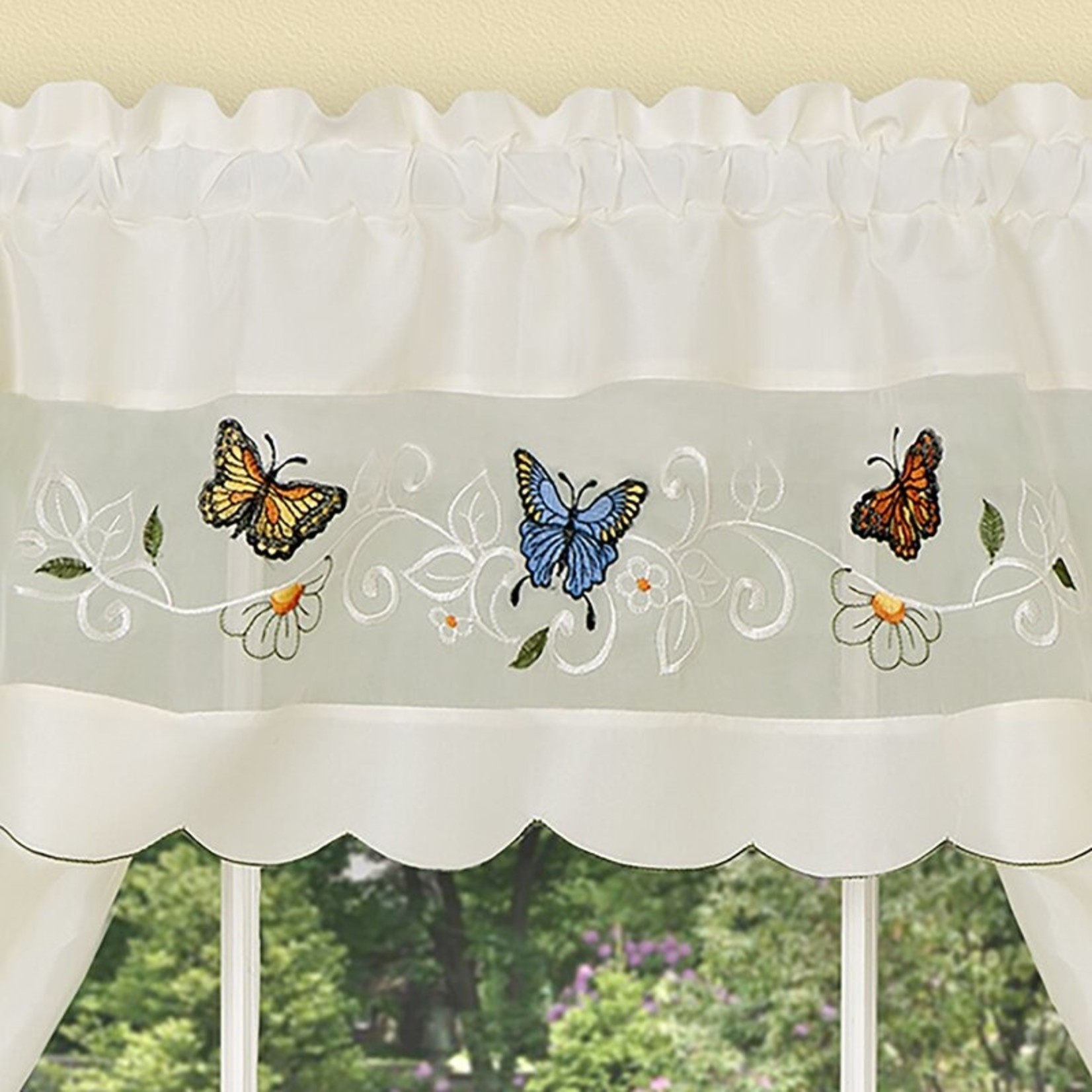 """*58"""" x 24"""" - Montano Single Daisy Meadow Embellished Kitchen Curtain"""