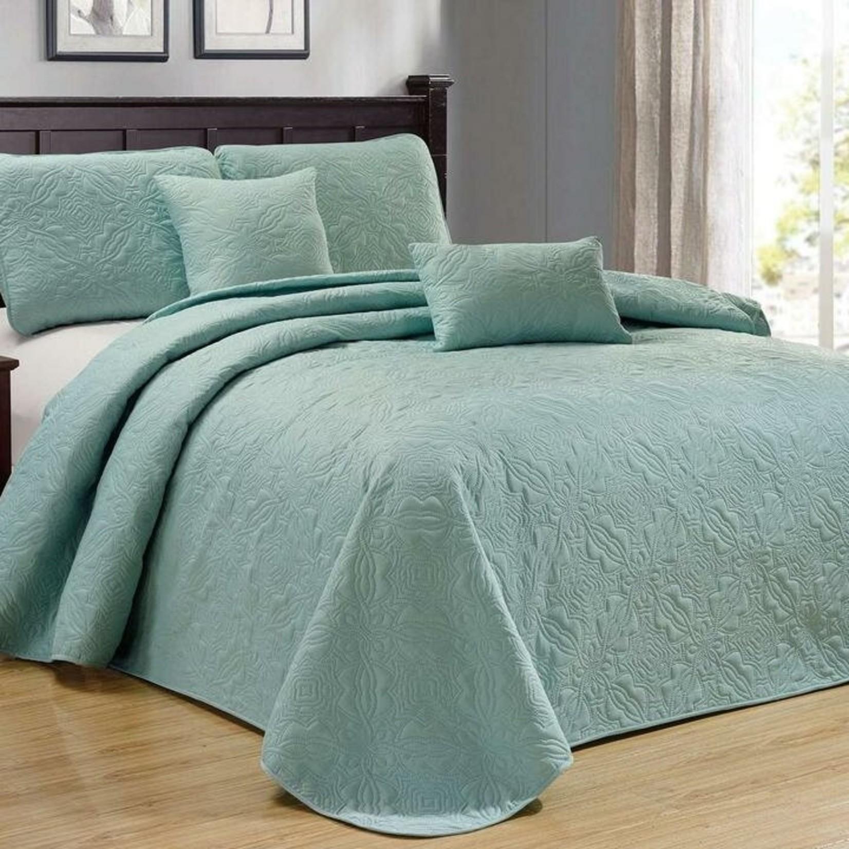 *Full/Queen - Loken 5 Piece Reversible Quilt Set - Spa Green - Final Sale