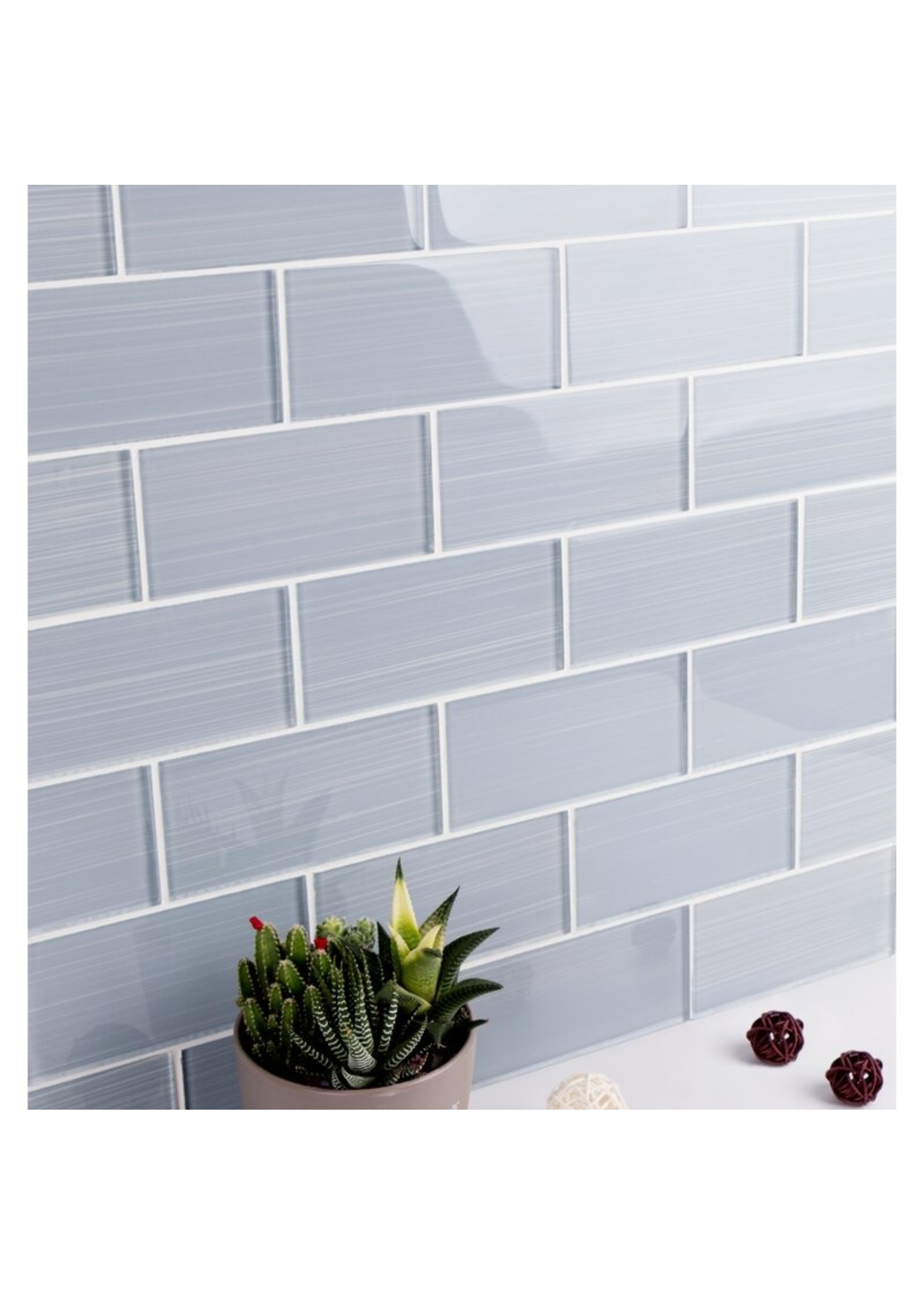 """*Hand Painted Series 3"""" x 6"""" Glass Peel & Stick Subway Tile - 64 Tiles - Soft Gray"""