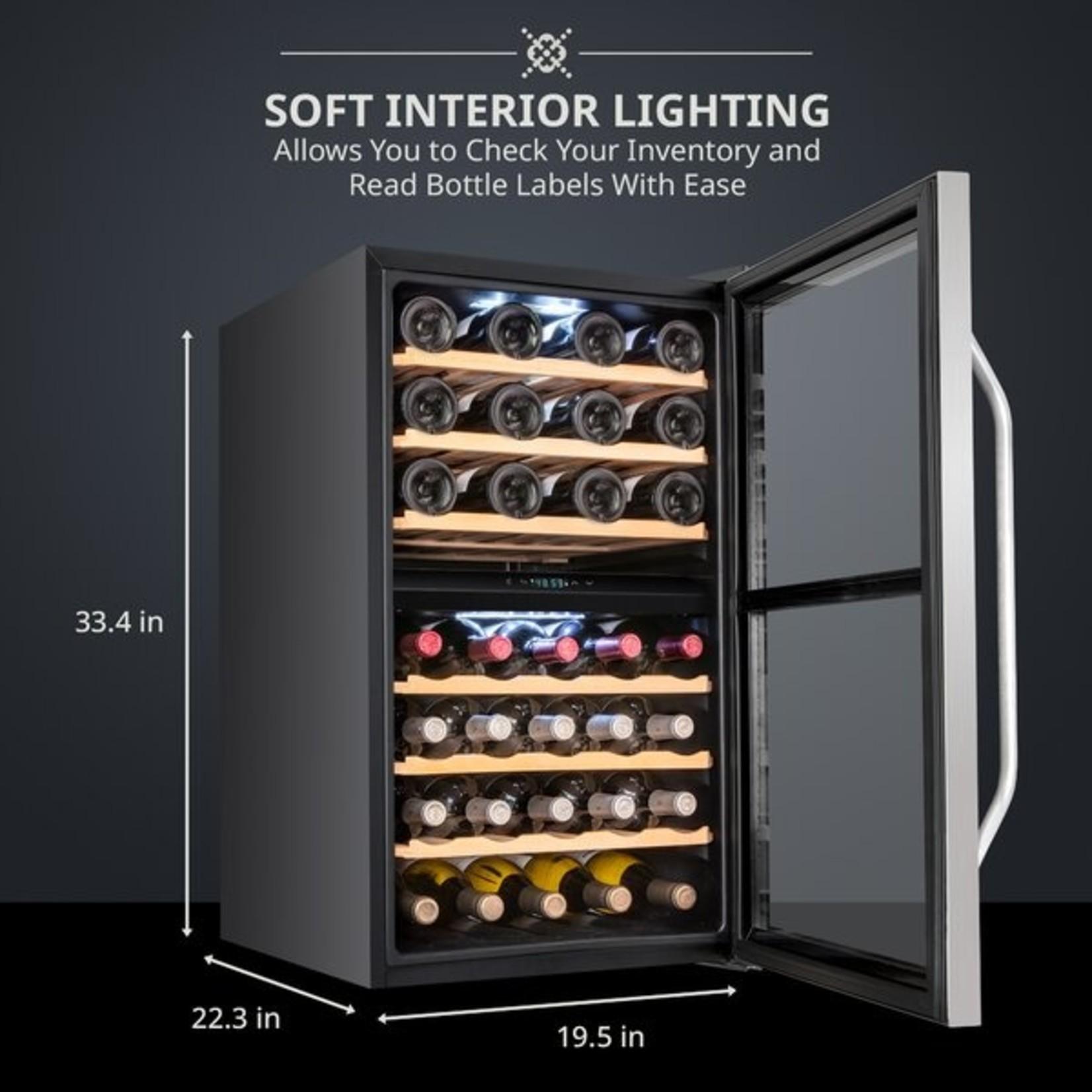 *43 Bottle Compressor Dual Zone Freestanding Wine Refrigerator - Black