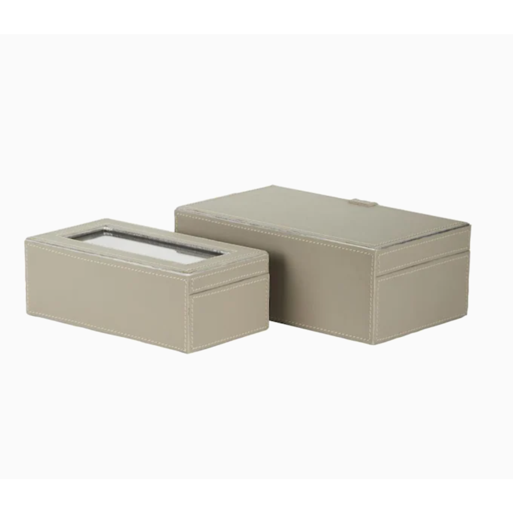 *Set of 2 Beige Leather Boxes
