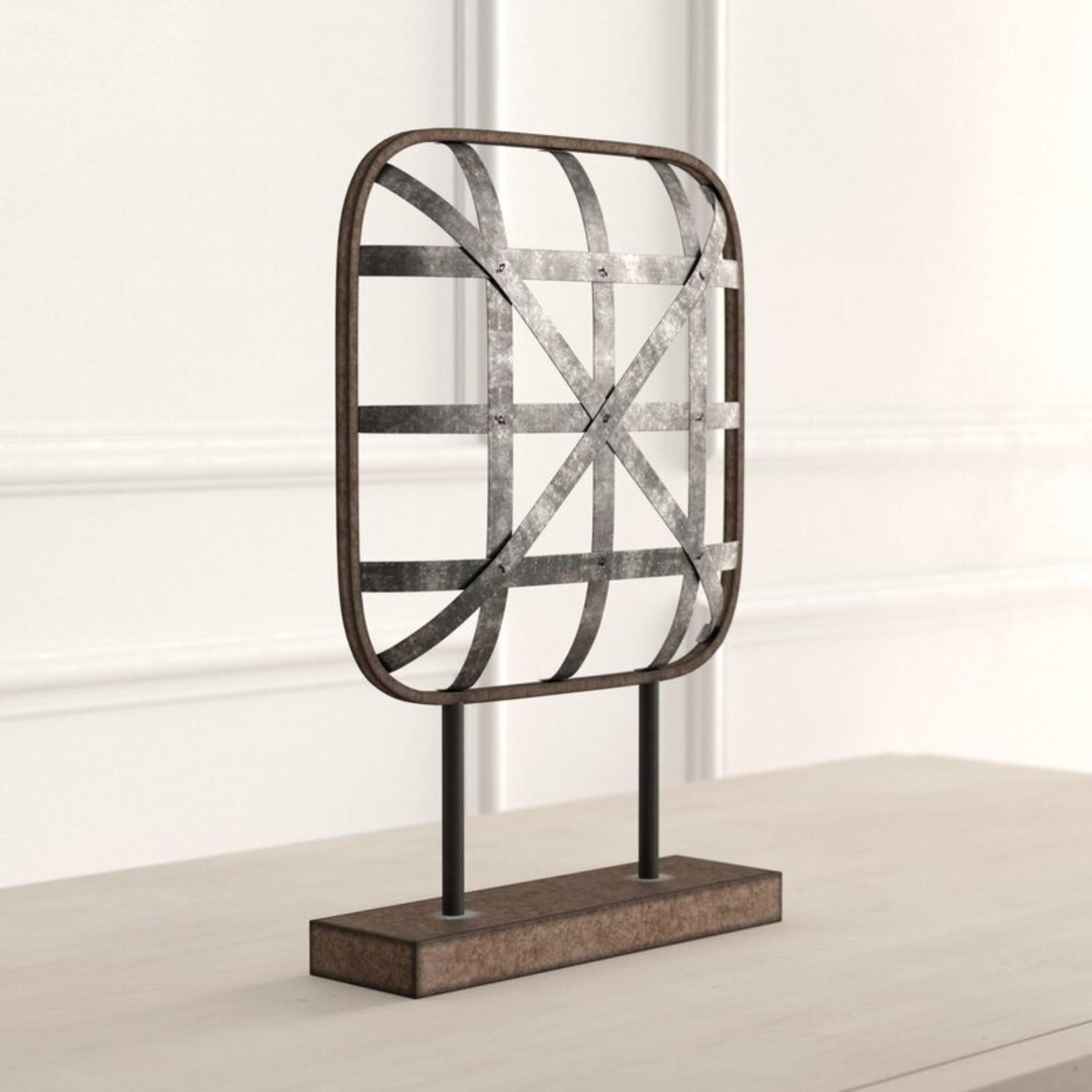 *Feliz Square Cross Hatched Metal Table Sculpture