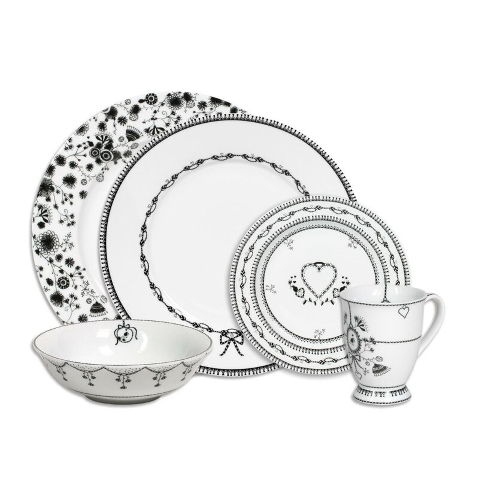 *Vina Blackbirdy Dinnerware - 5 Pieces, Service for 1