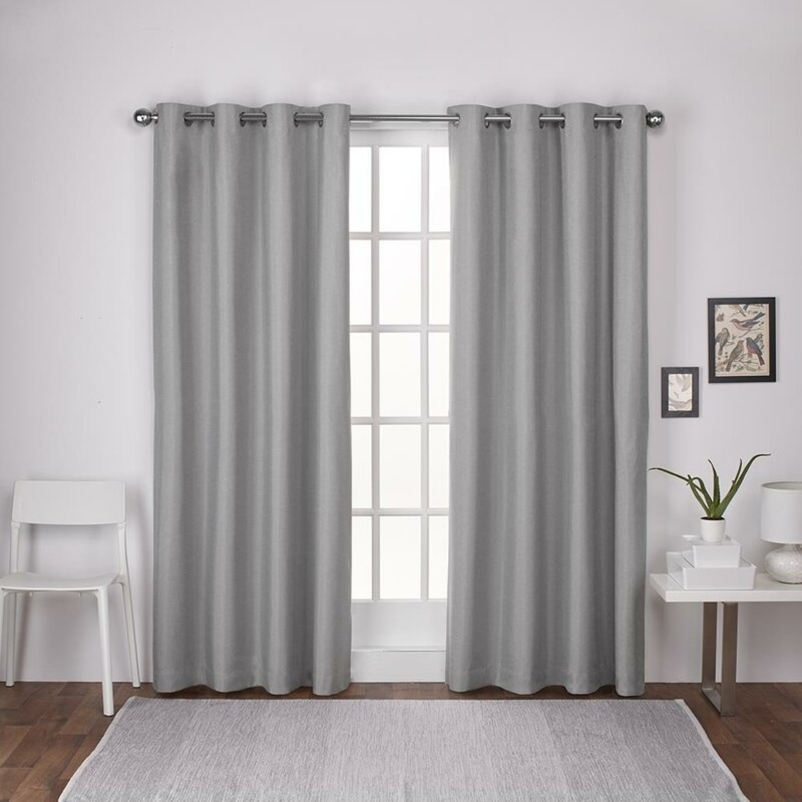 """*54"""" x 84"""" - Andish Solid Room Darkening Thermal Gromment Panels - Dove Gray (Set of 2)"""