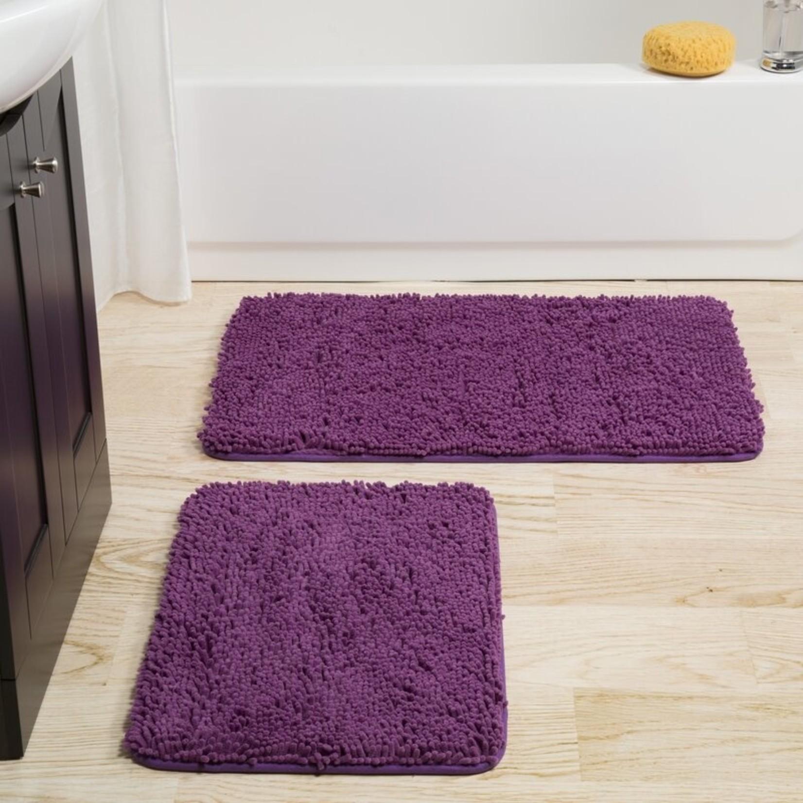 *Memory Foam Shag 2 Piece Bath Rug Set - Purple