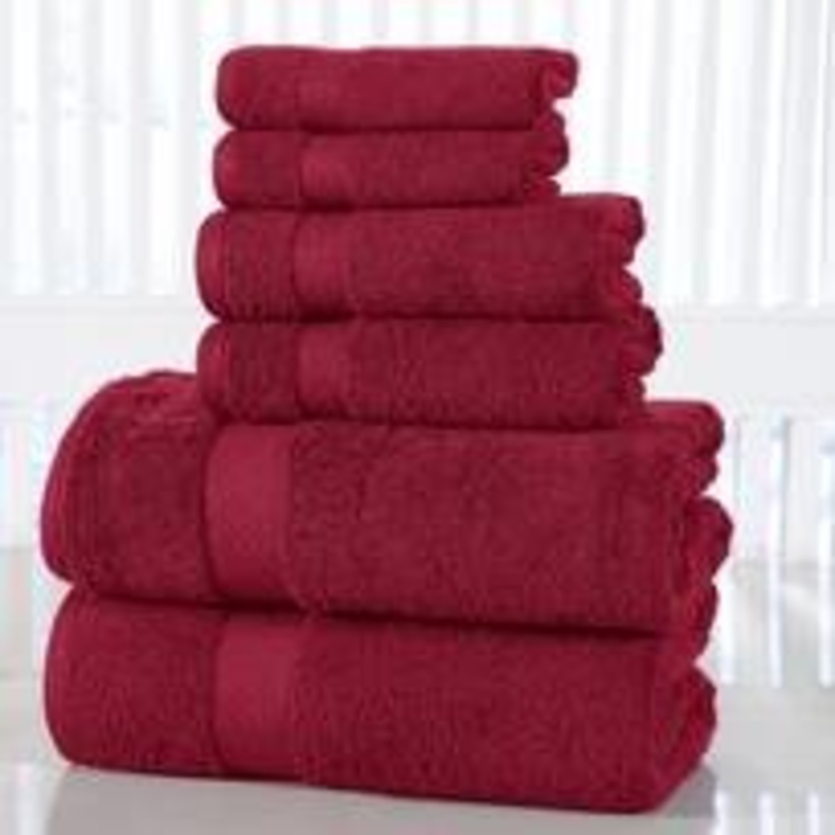 *Lucinda Luxurious 6 Piece 100% Cotton Towel Set - Garnet Red - Final Sale