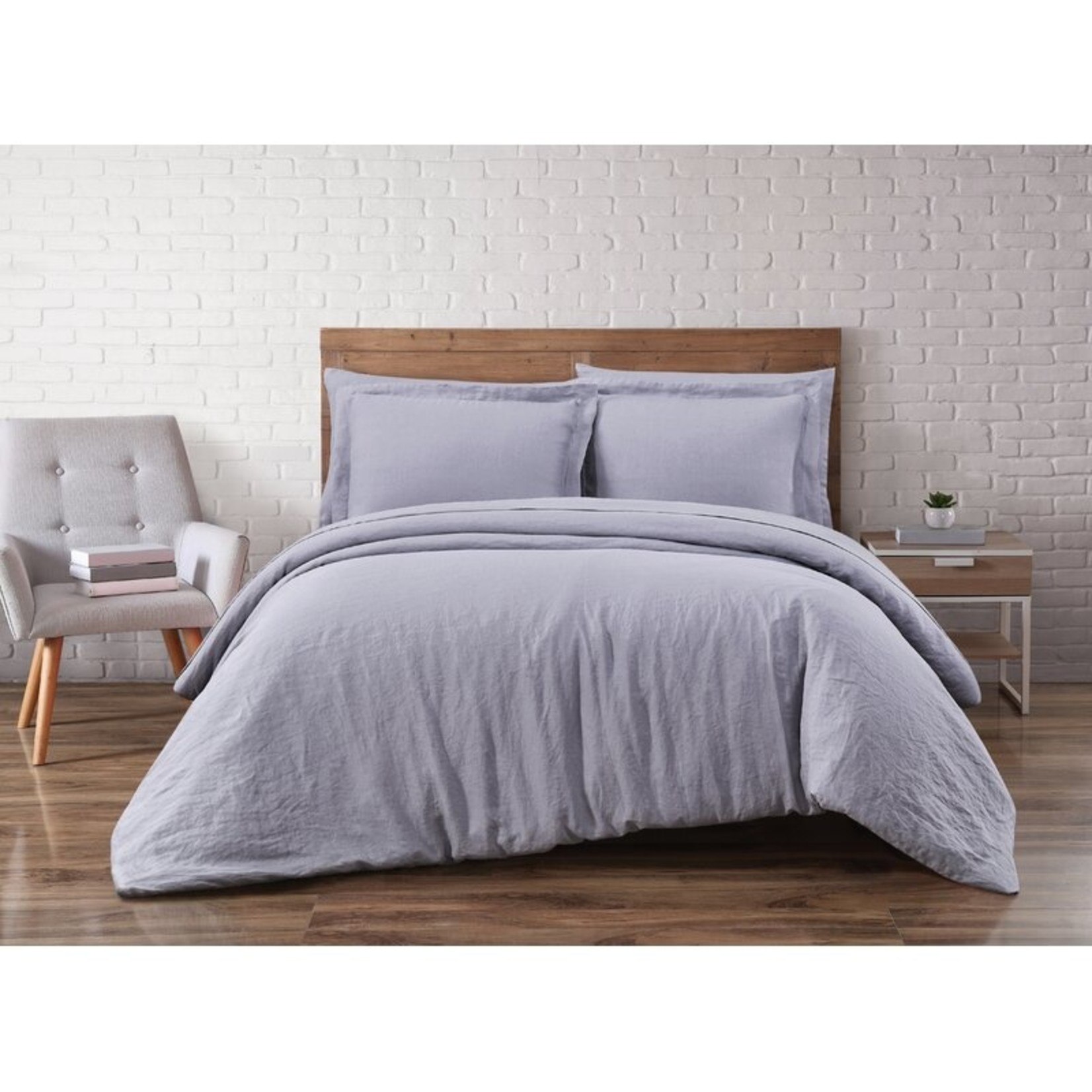 *Full/Queen - Beverly Linen 3 Piece Duvet Cover Set - Gray - Final Sale