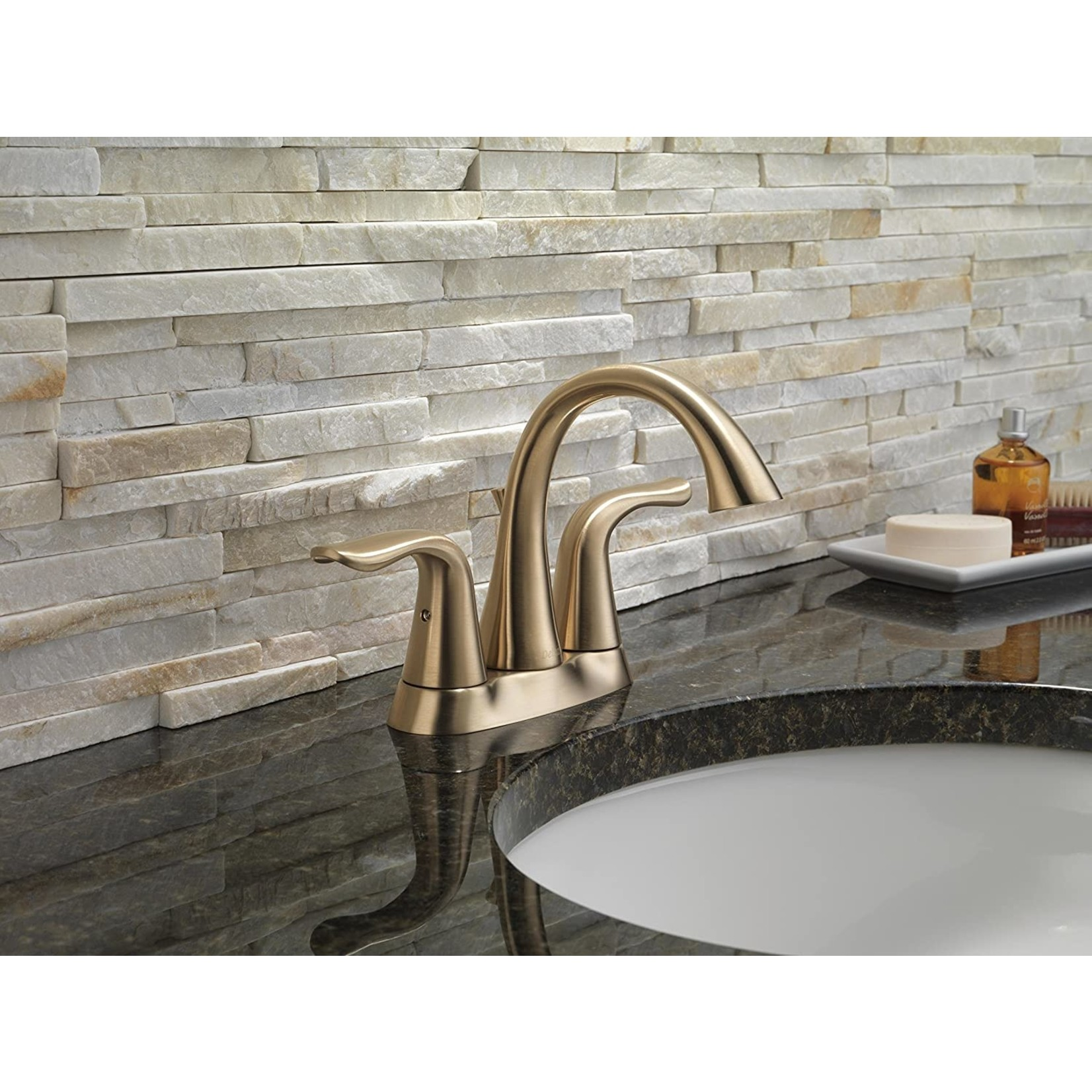 *Lahara Centerset Bathroom Faucet with Drain Assembly and Diamond Seal Technology - Champagne Bronze