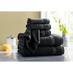 *Black - Midnight Moon Quick Dry 6 Piece 100% Cotton Towel Set - Final Sale