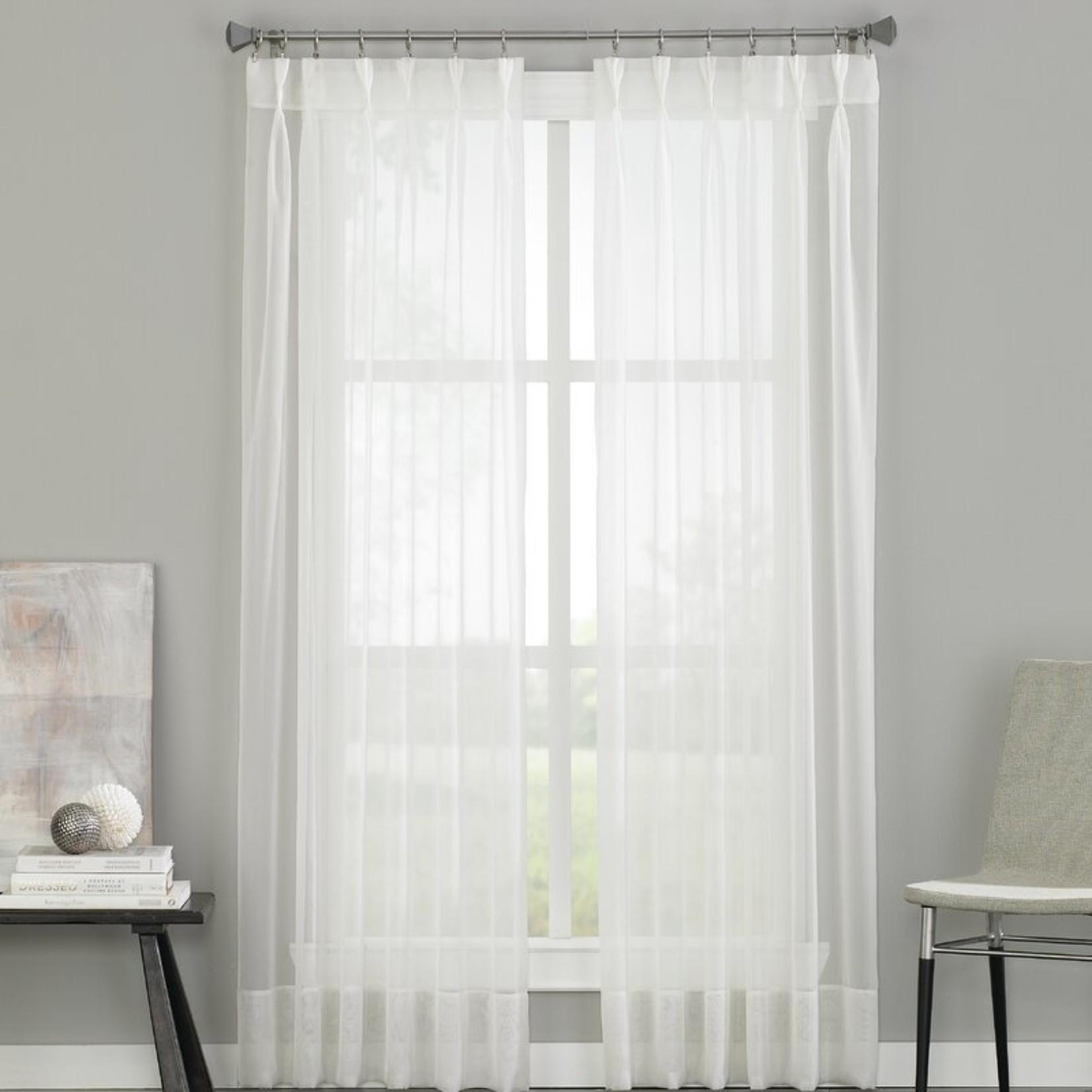 "*29"" x 84"" - Mannino Solid Sheer Grommet Single Curtain Panel - White"