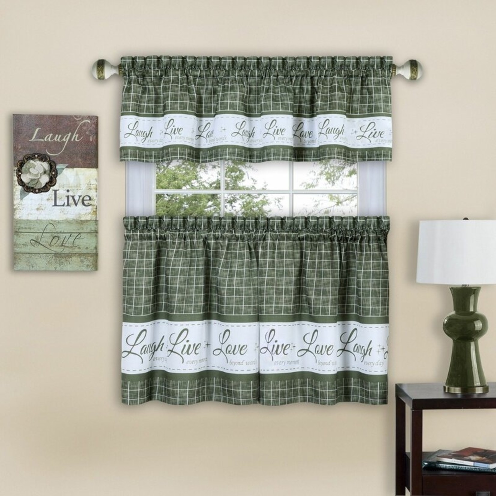 """*The Live Laugh Love 58"""" Kitchen Curtain Set - Green"""