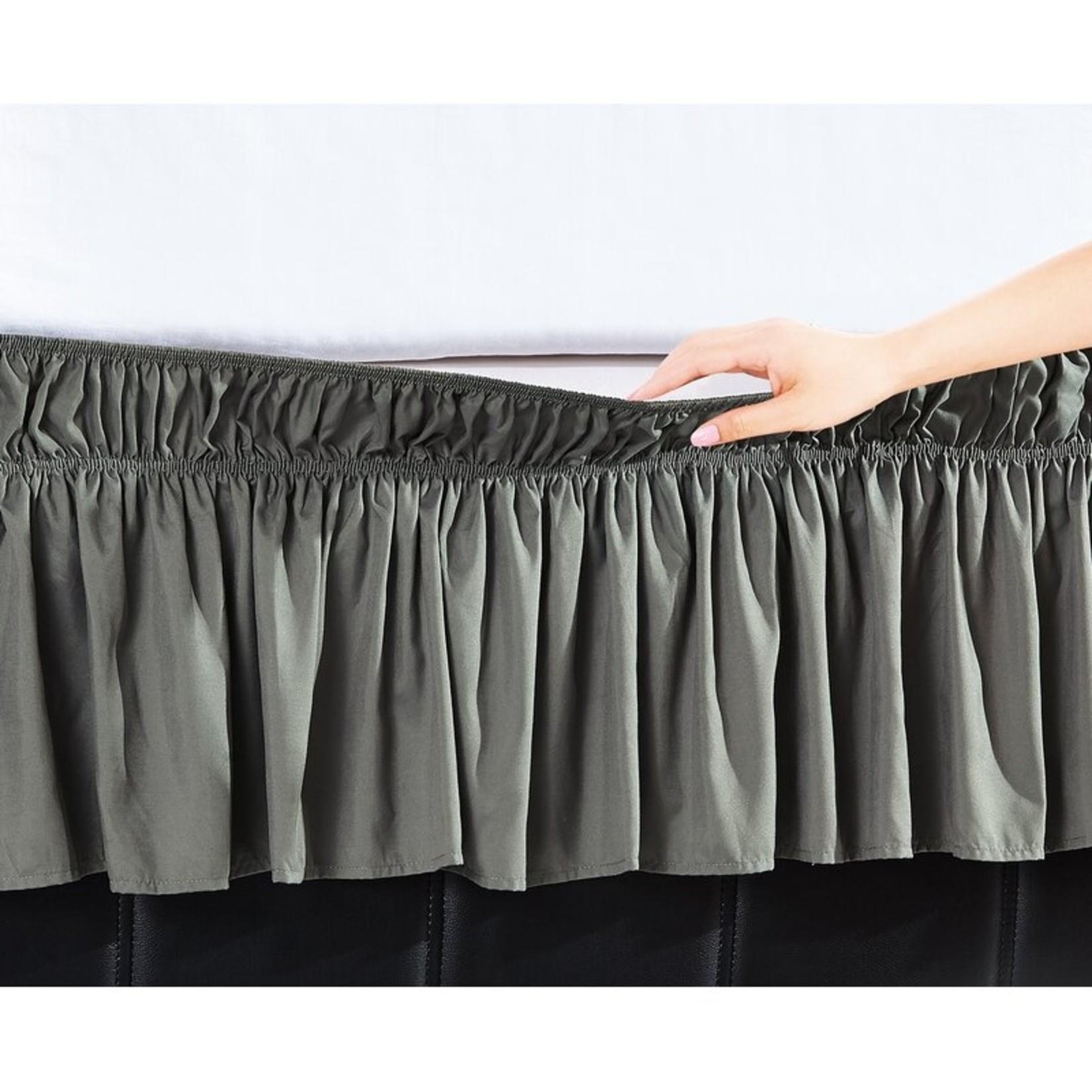 "*Queen/King - Easy Wrap Platform Free Dust Ruffle 16"" Bed Skirt - Gray - Final Sale"