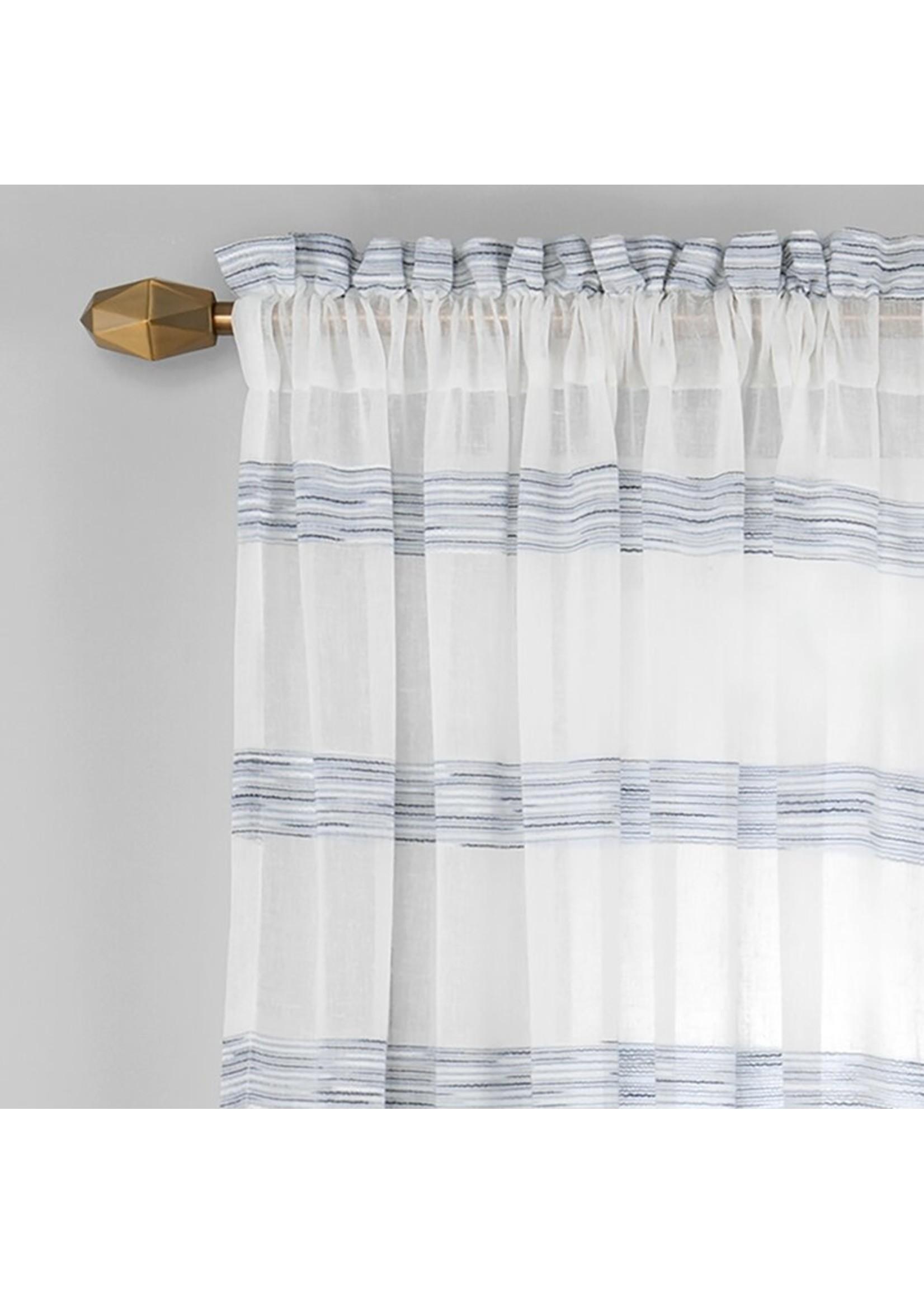 "*52"" x 95"" - Hawkinsville Single Window Striped Semi-Sheer Rod Pocket Panel - Set of 2"