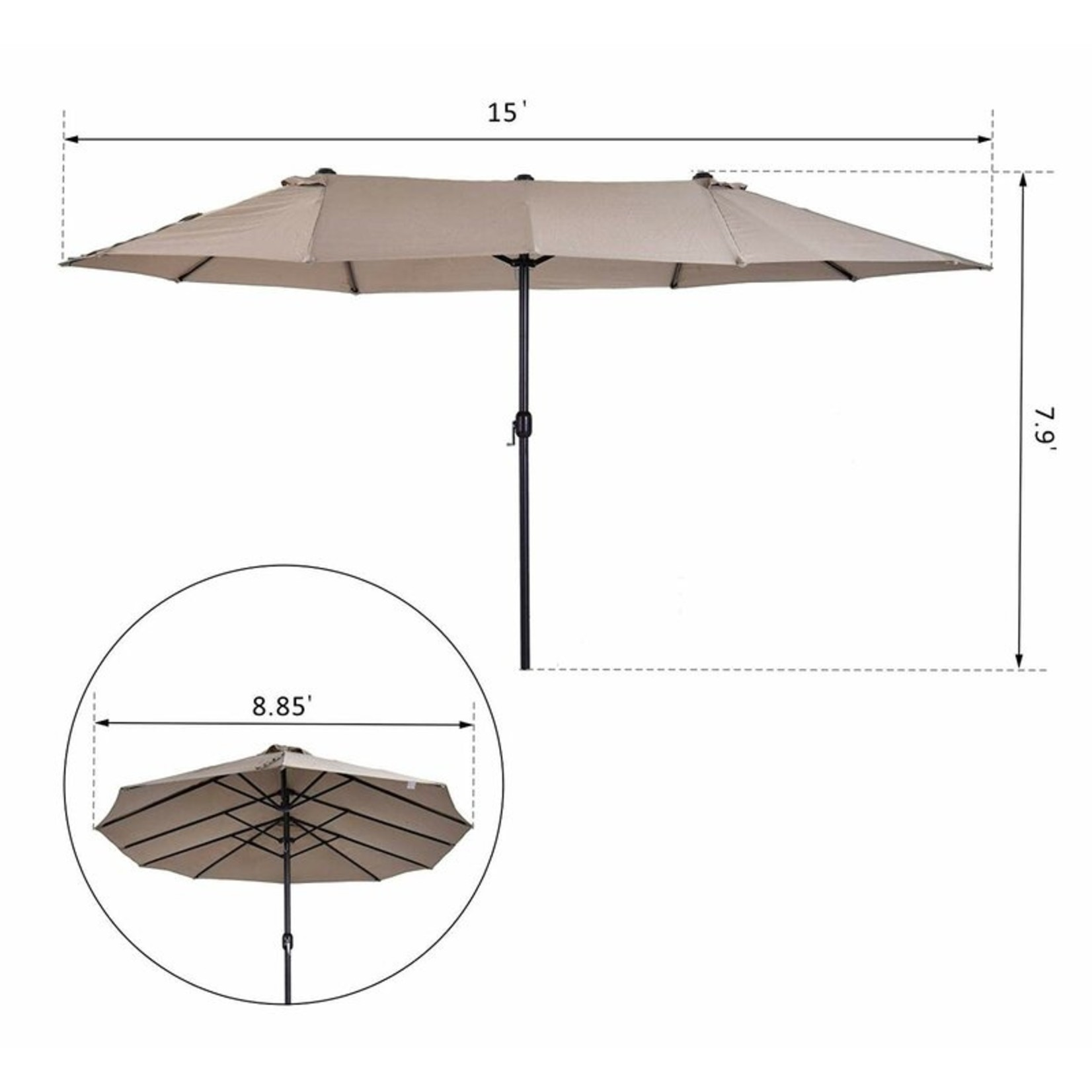 *Aniyah 9' x 15' Rectangular Umbrella - Coffee