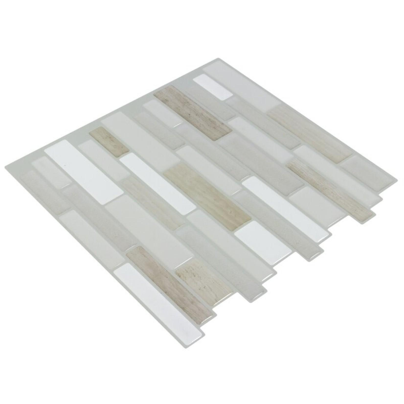 "*10"" x 10"" Vinyl Peel & Stick Mosaic Tile in Gray/Khaki"