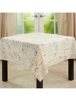 "*Noren Old Fashioned Vintage Script Print Design 55"" x 55"" Tablecloth"