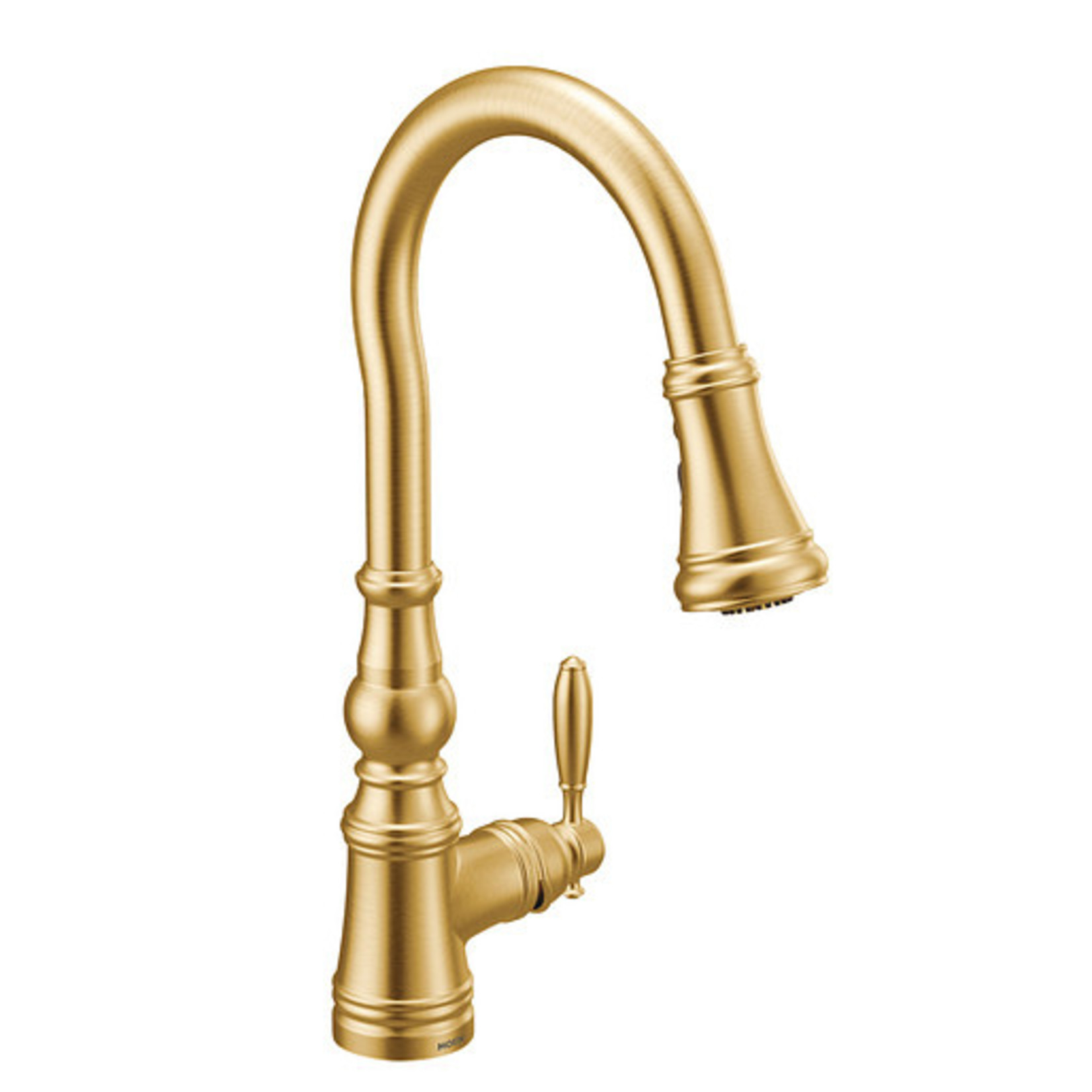 *Moen Weymouth Single Handle Kitchen Faucet with Wave, Power Boost, Duralock and Reflex - Brushed Gold