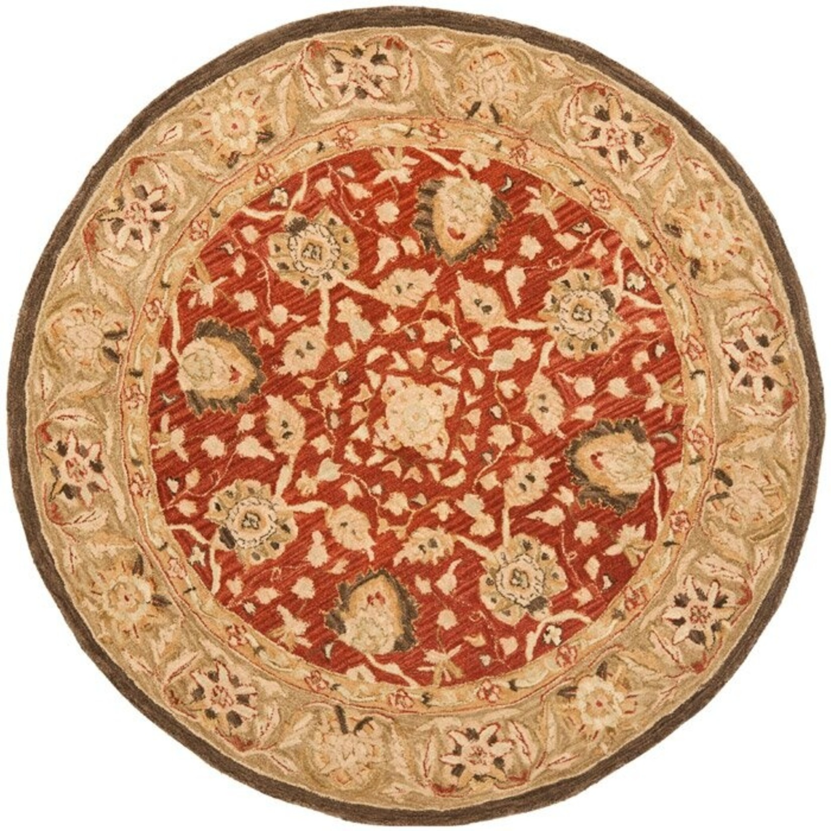 *4' Round - Tingley Hand-Tufted Wool Rust/Green Area Rug - Slight Damage to Back