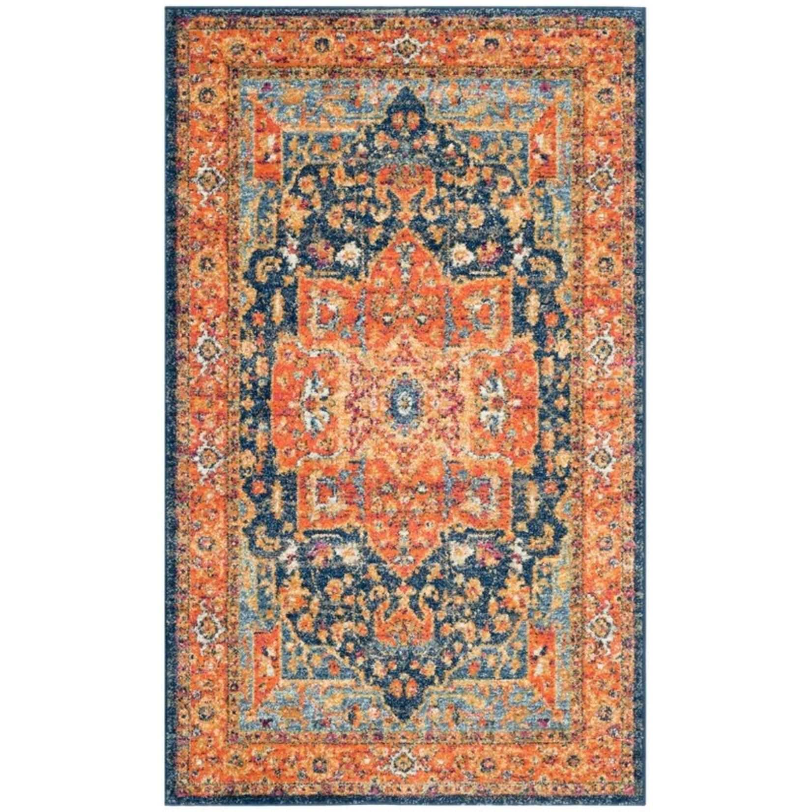 *3' x 5' - Battista Power Loom Blue/Orange Rug