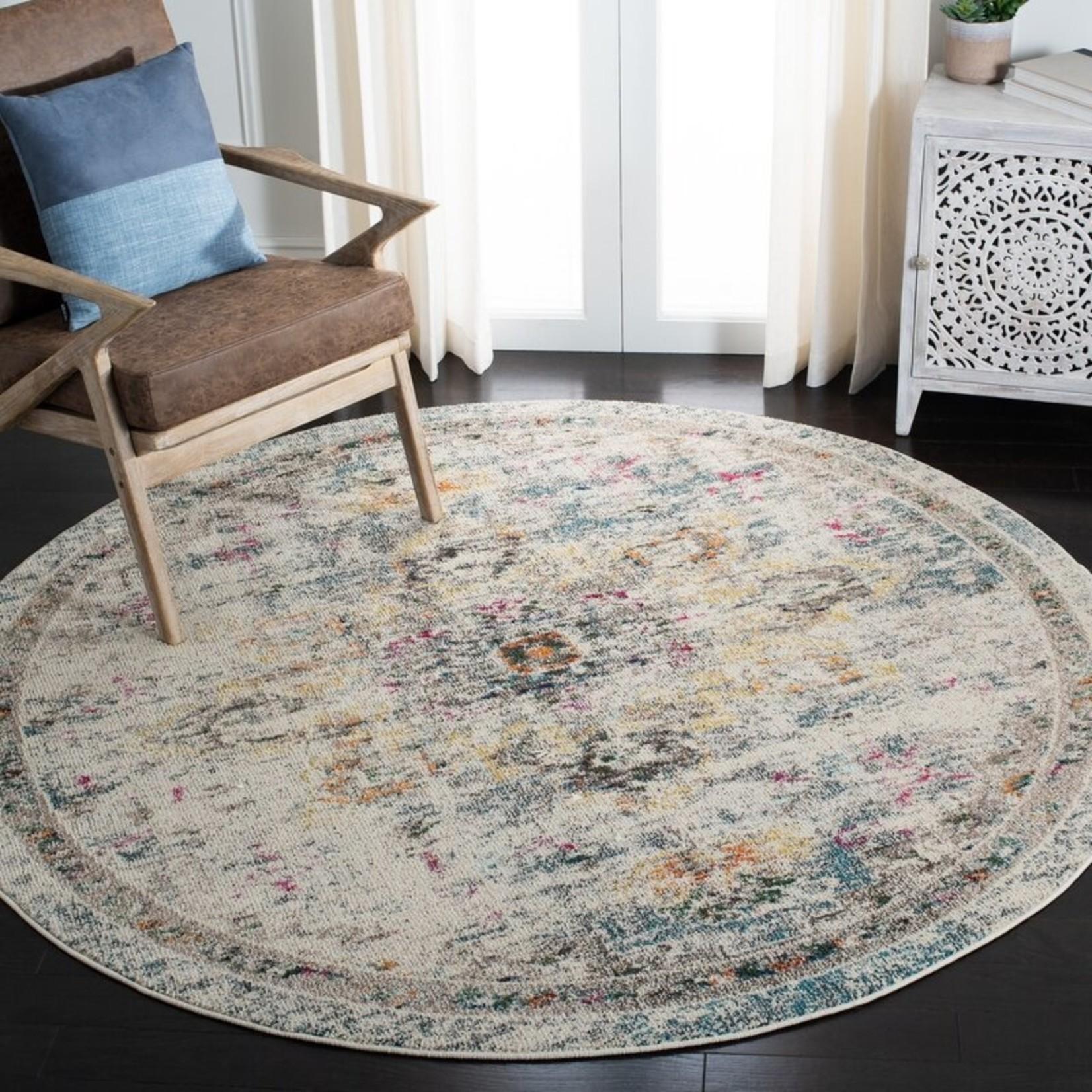 *3' Round - Gutierez Oriental Gray/Brown Area Rug