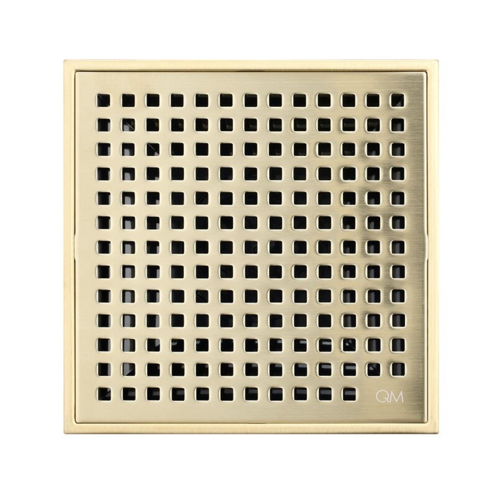 "*4"" x 4"" - Lagos Grid Shower Drain - Satin Gold - Final Sale"