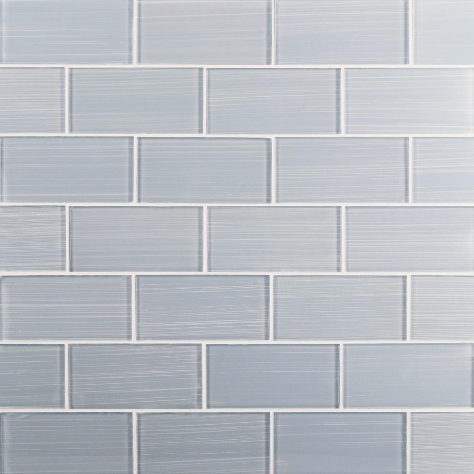 "*Premium Hand Painted 3"" x 6"" Glass Subway Tile - Mesh Back - Soft Gray"