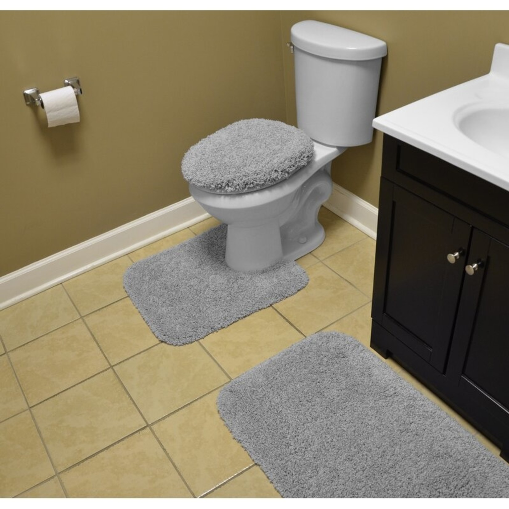 *Fresnel Rufford 3 Piece Bath Rug Set - Platinum