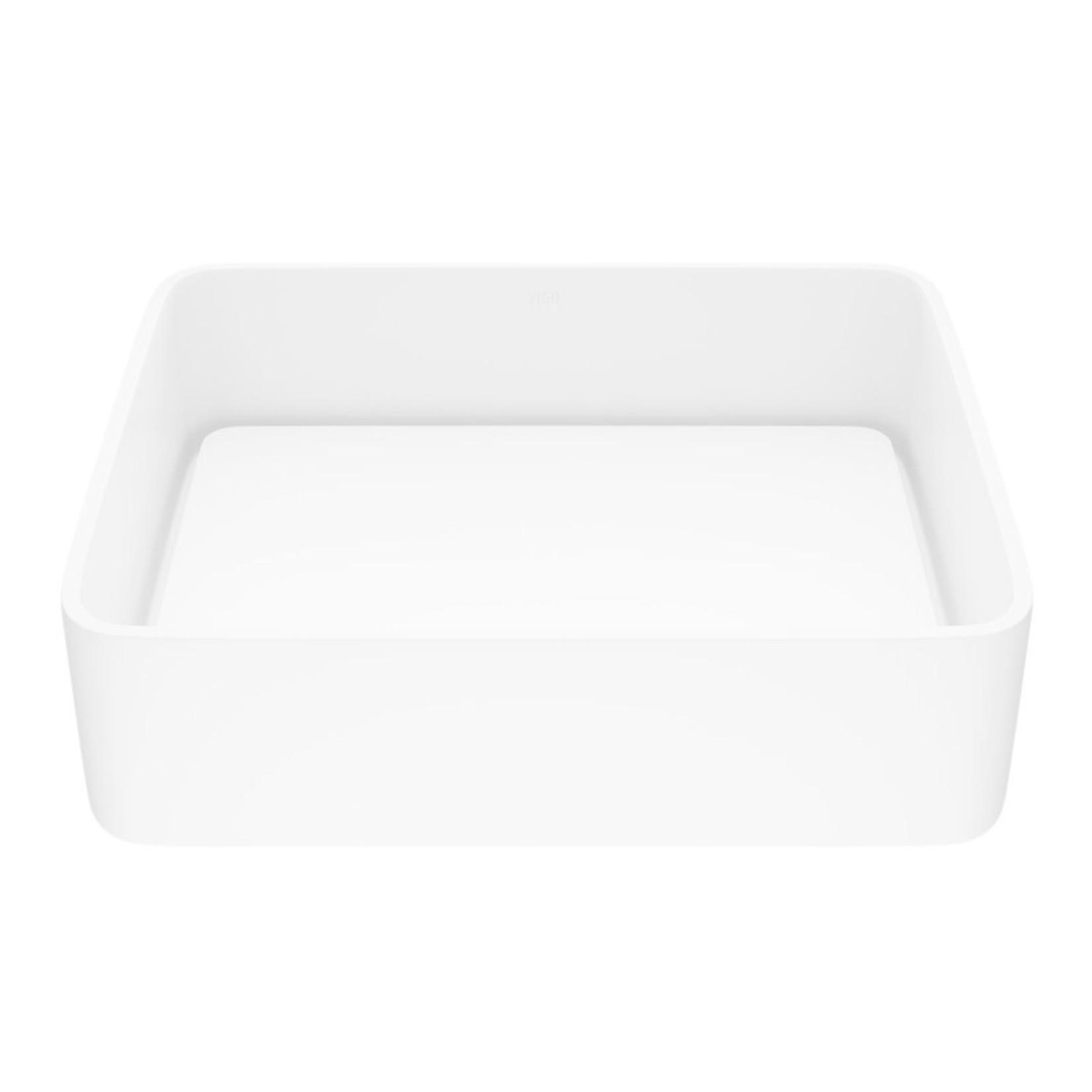 *Vigo Matte Stone White Rectangular Vessel Bathroom Sink with Faucet & Drain