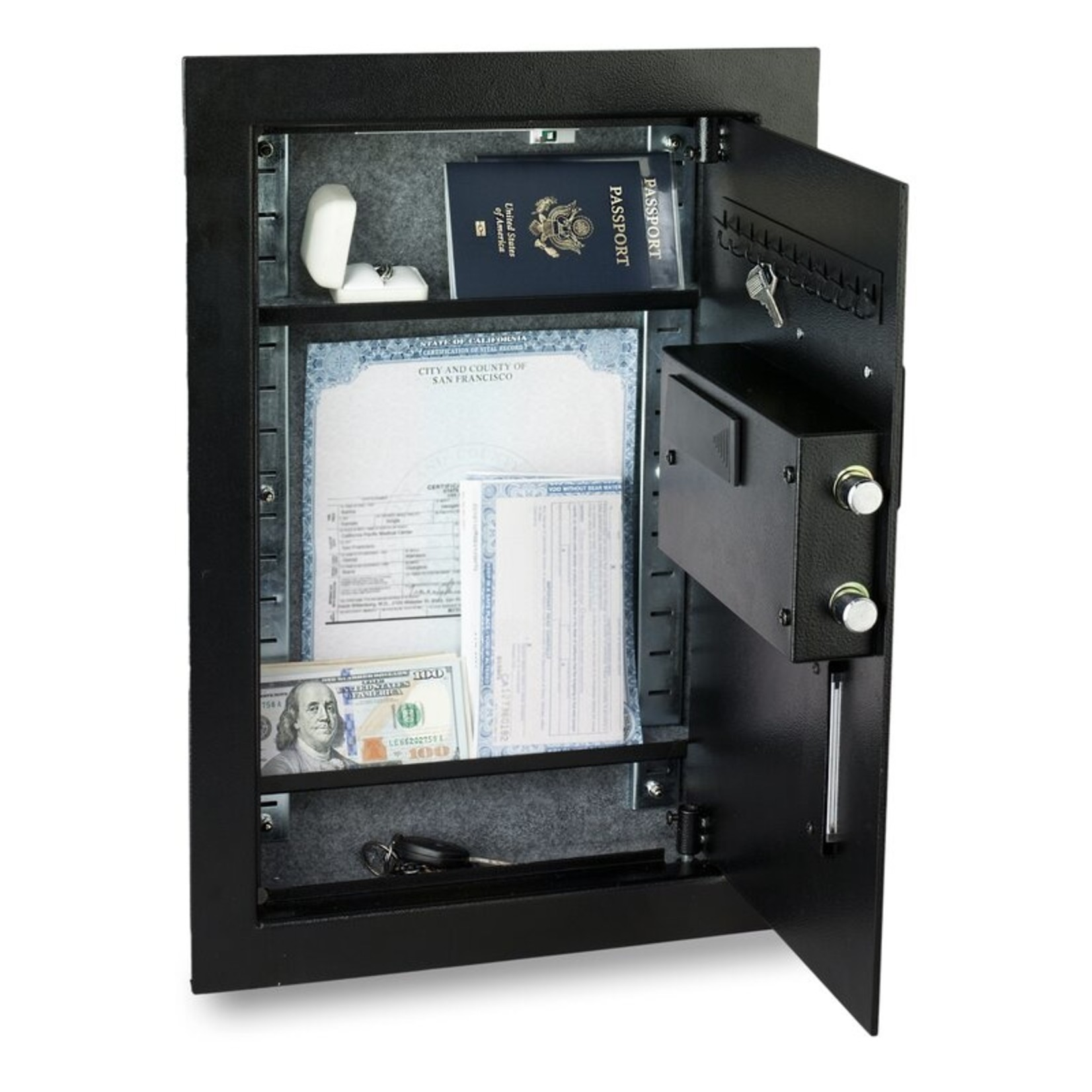 *Biometric Lock Commercial Wall Safe - Black