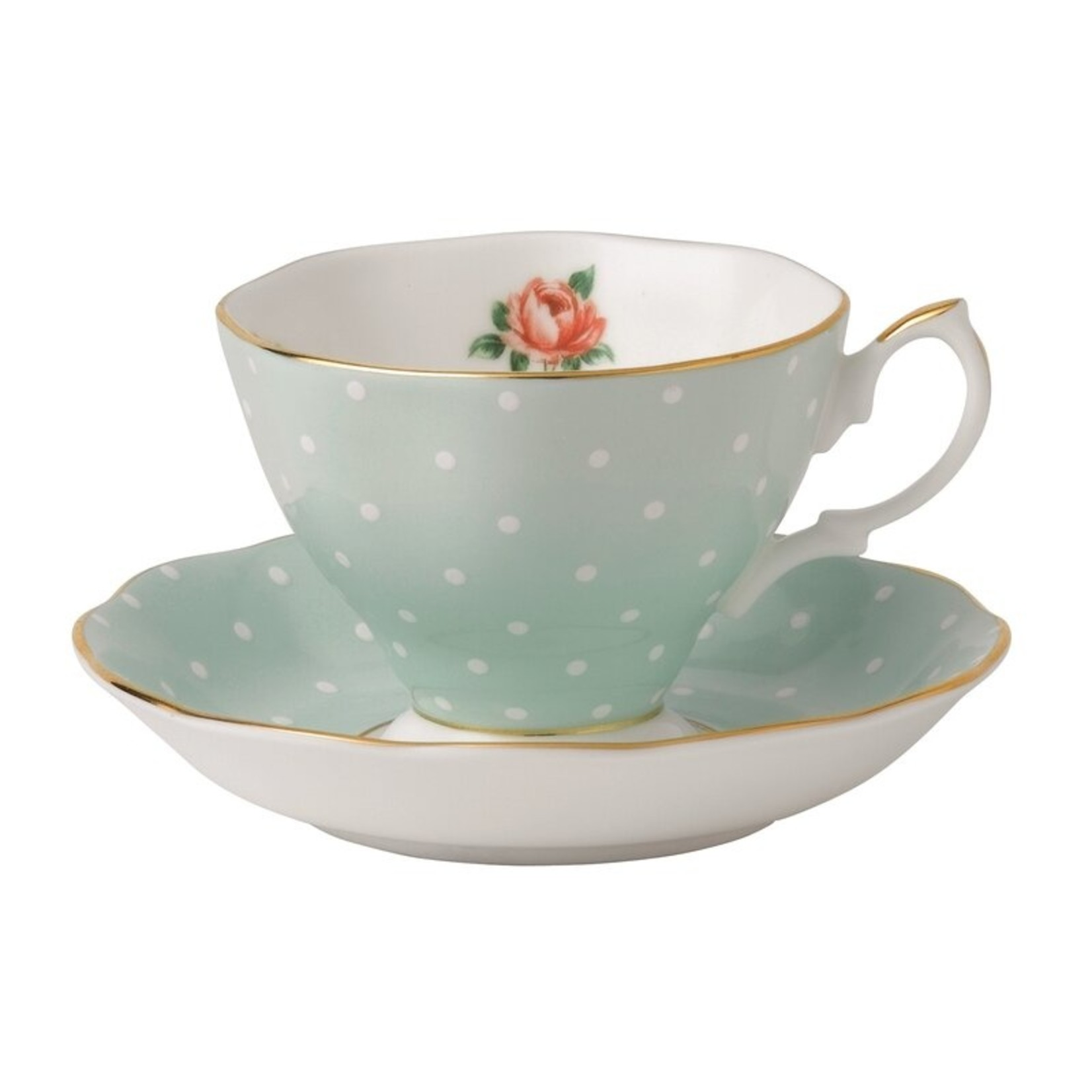 *Polka Rose Formal Bone China Teacup & Saucer