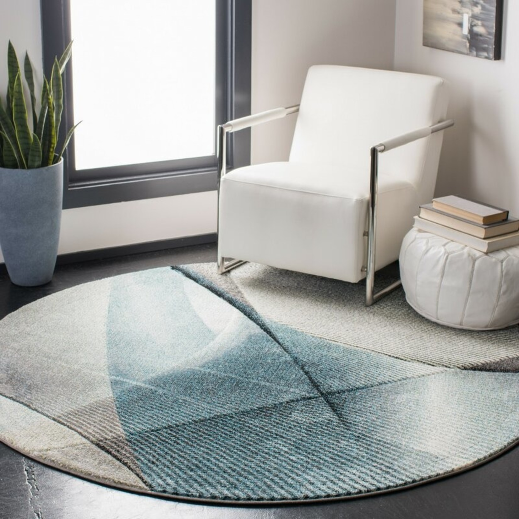 *11' Round - Anne Gray/Teal Area Rug