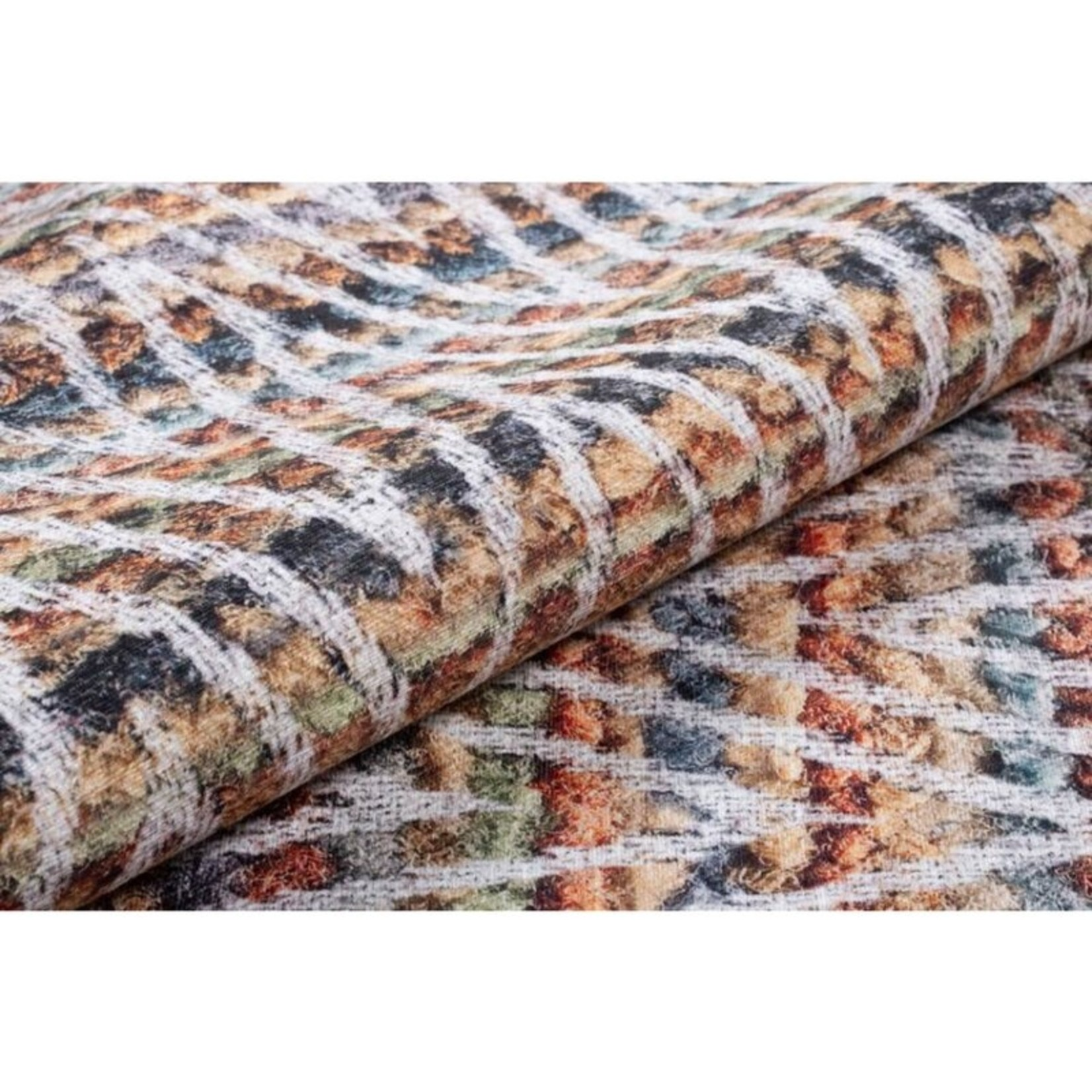 *5' x 7'6' - Chevron Cotton Green/Orange/Blue Area Rug