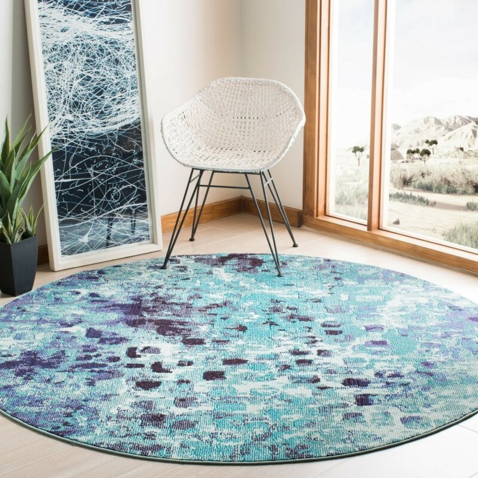 *5' Round - Travers Abstract Turquoise Area Rug