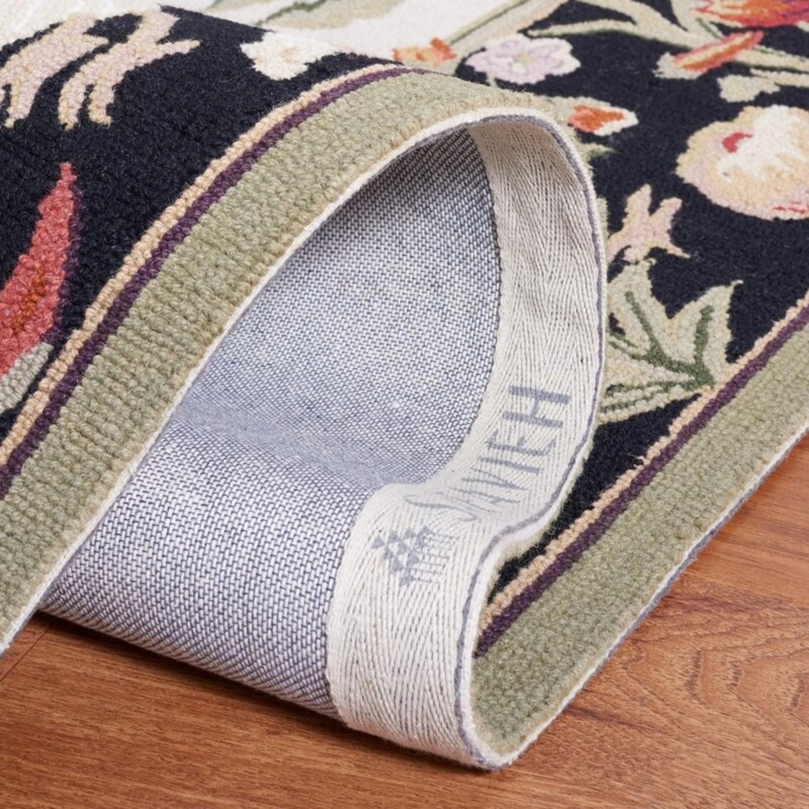 *3' Round - Chelsea Oriental Handmade Looped/Hooked Wool Black Area Rug