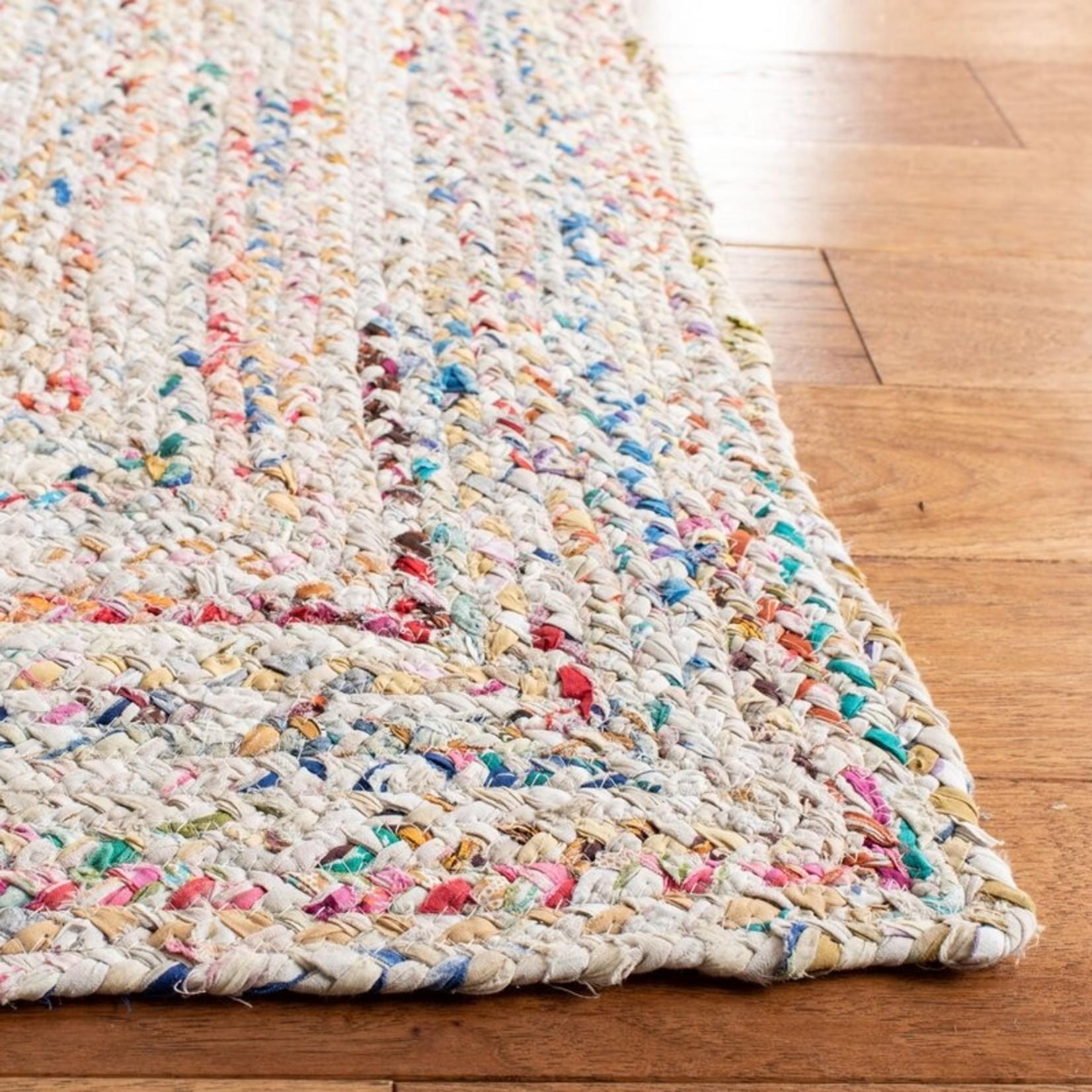 *3' x 5' - Hurst Abstract Handmade Braided Cotton Multicolor Area Rug
