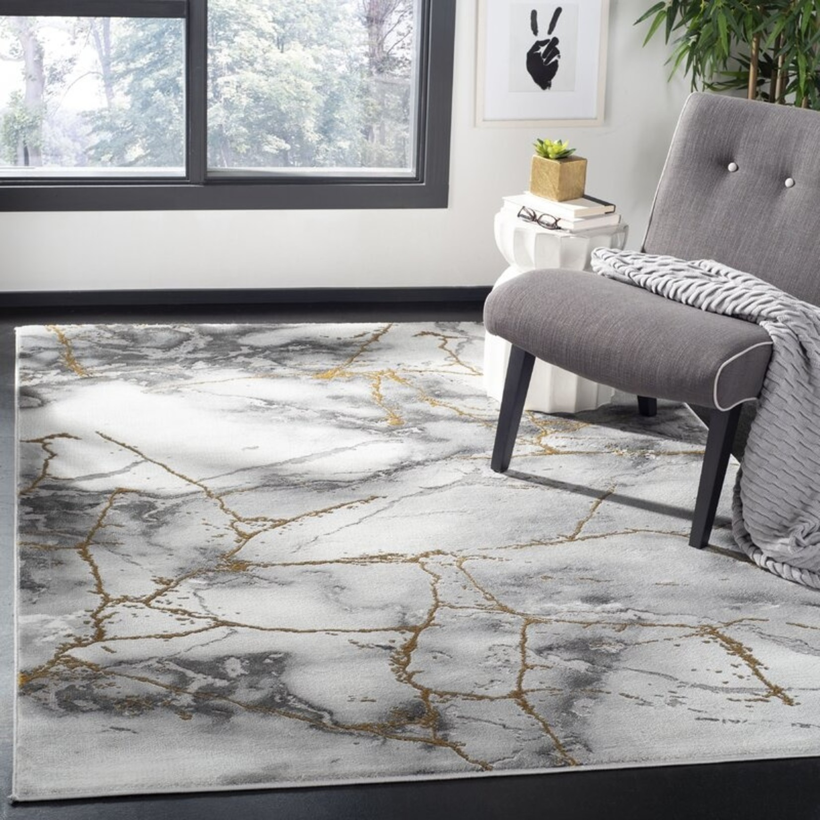 *12' x 18' - Coupland Abstract Gray/Gold Area Rug