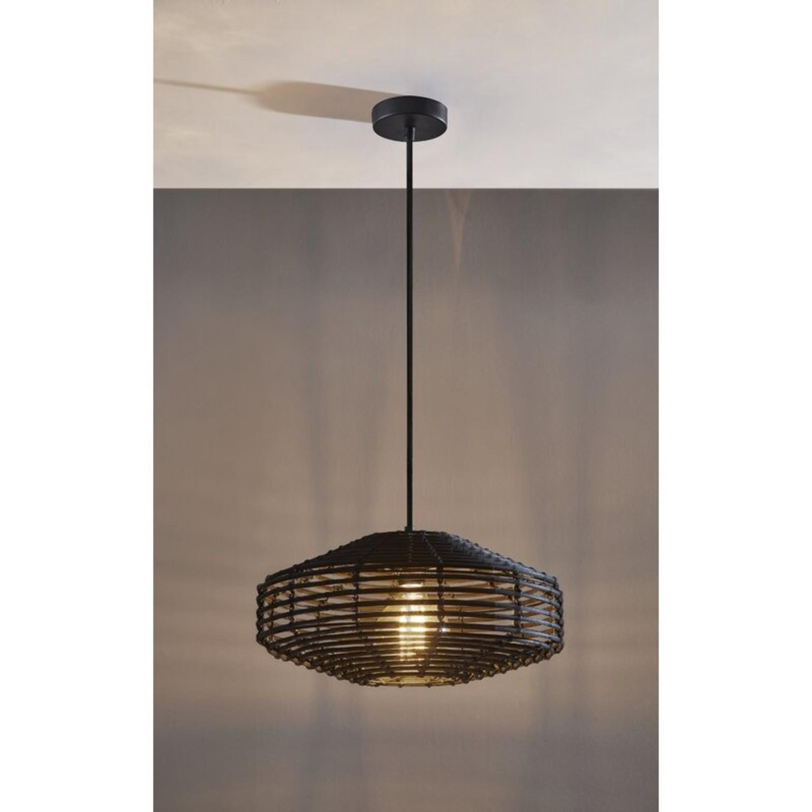 *Lostwithiel 1-Light Single Drum Pendant with Wood Accents - Black
