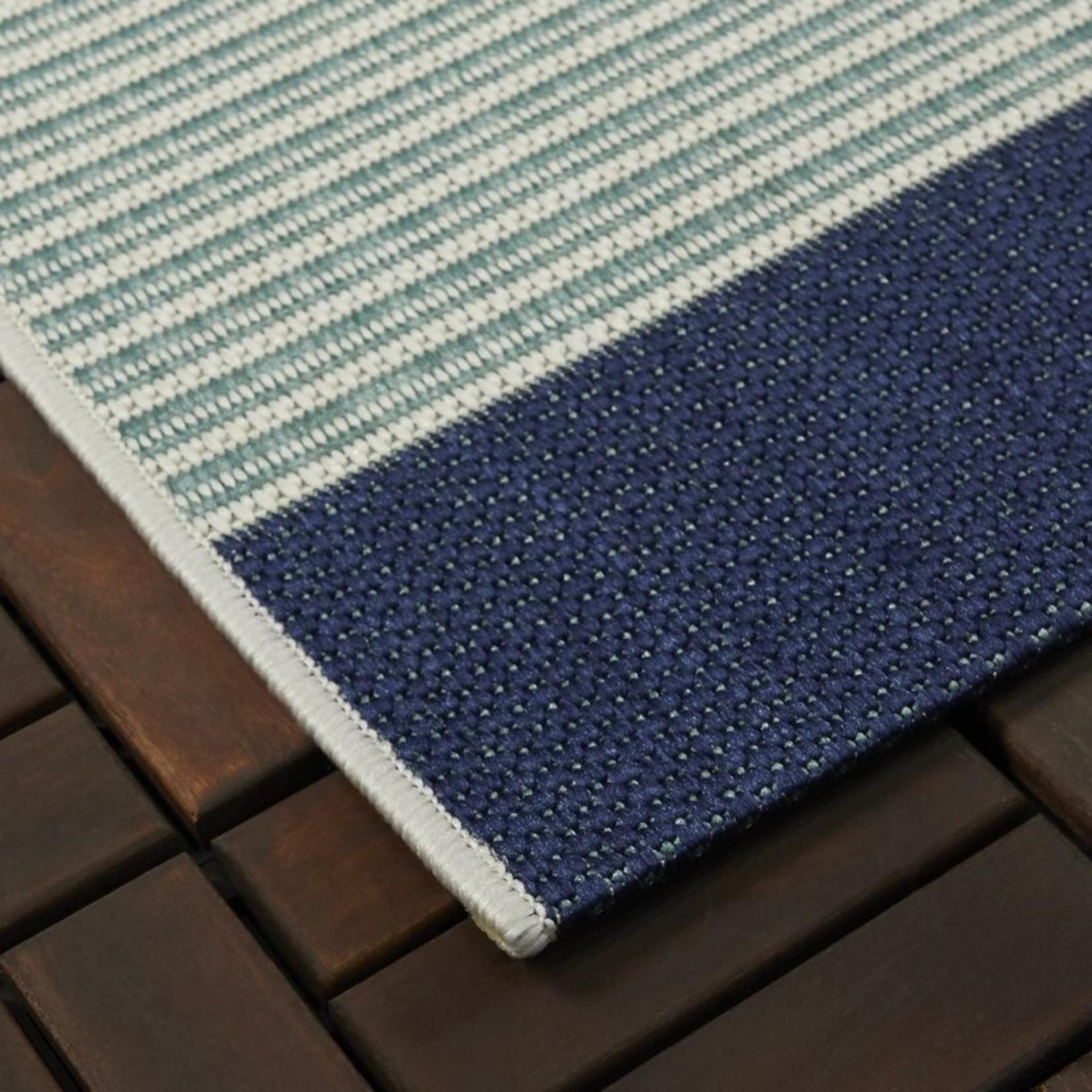 "*5' x 7'2"" - Mckelvey Flatweave Navy Blue/Ivory Indoor/Outdoor Use Rug - Dirt on Edge"