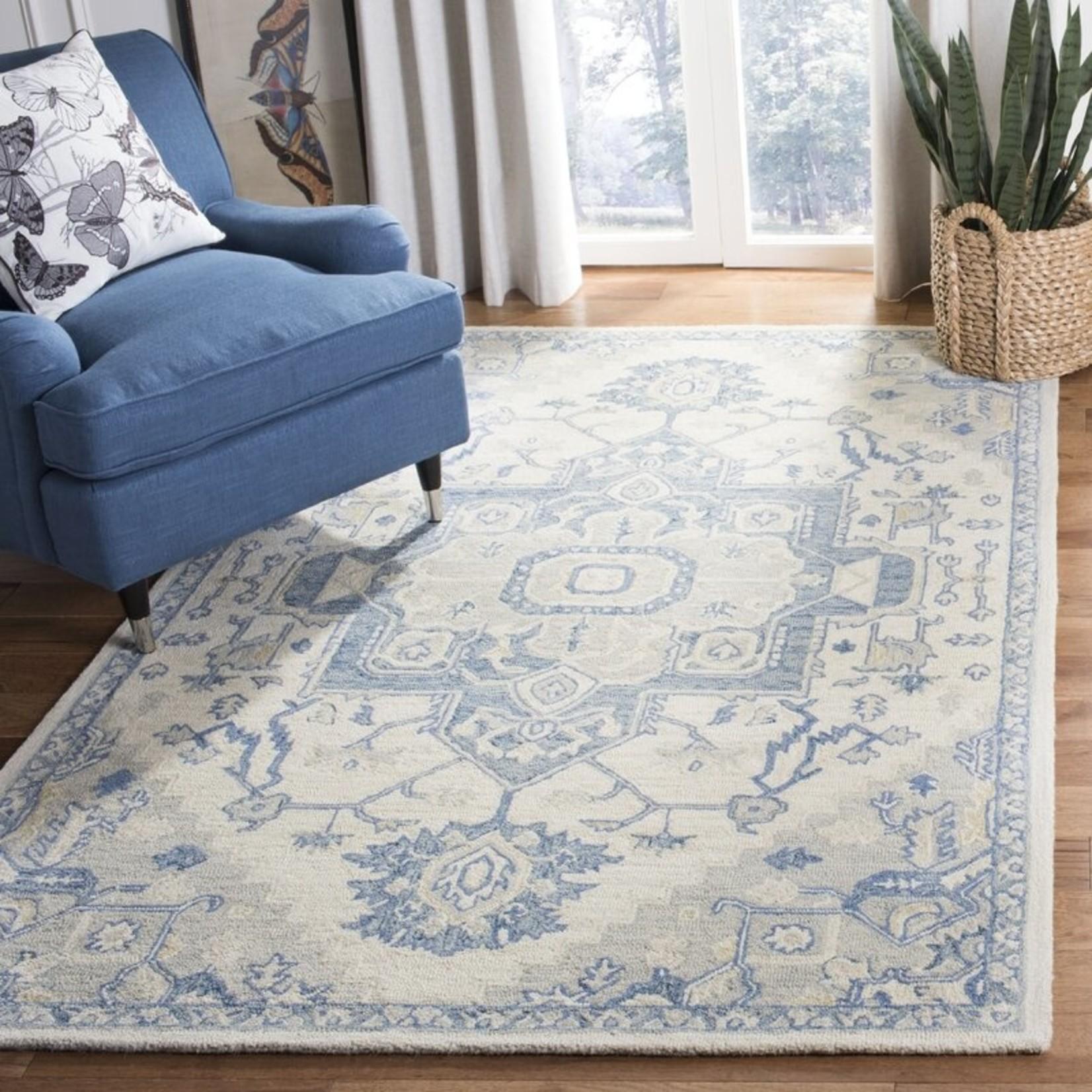 *5' x 8' - Cuvier Oriental Handwoven Wool Ivory/Blue Area Rug